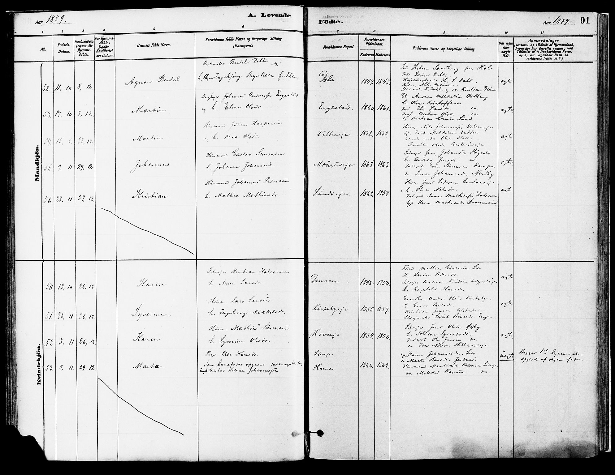 SAH, Vang prestekontor, Hedmark, H/Ha/Haa/L0018A: Ministerialbok nr. 18A, 1880-1906, s. 91