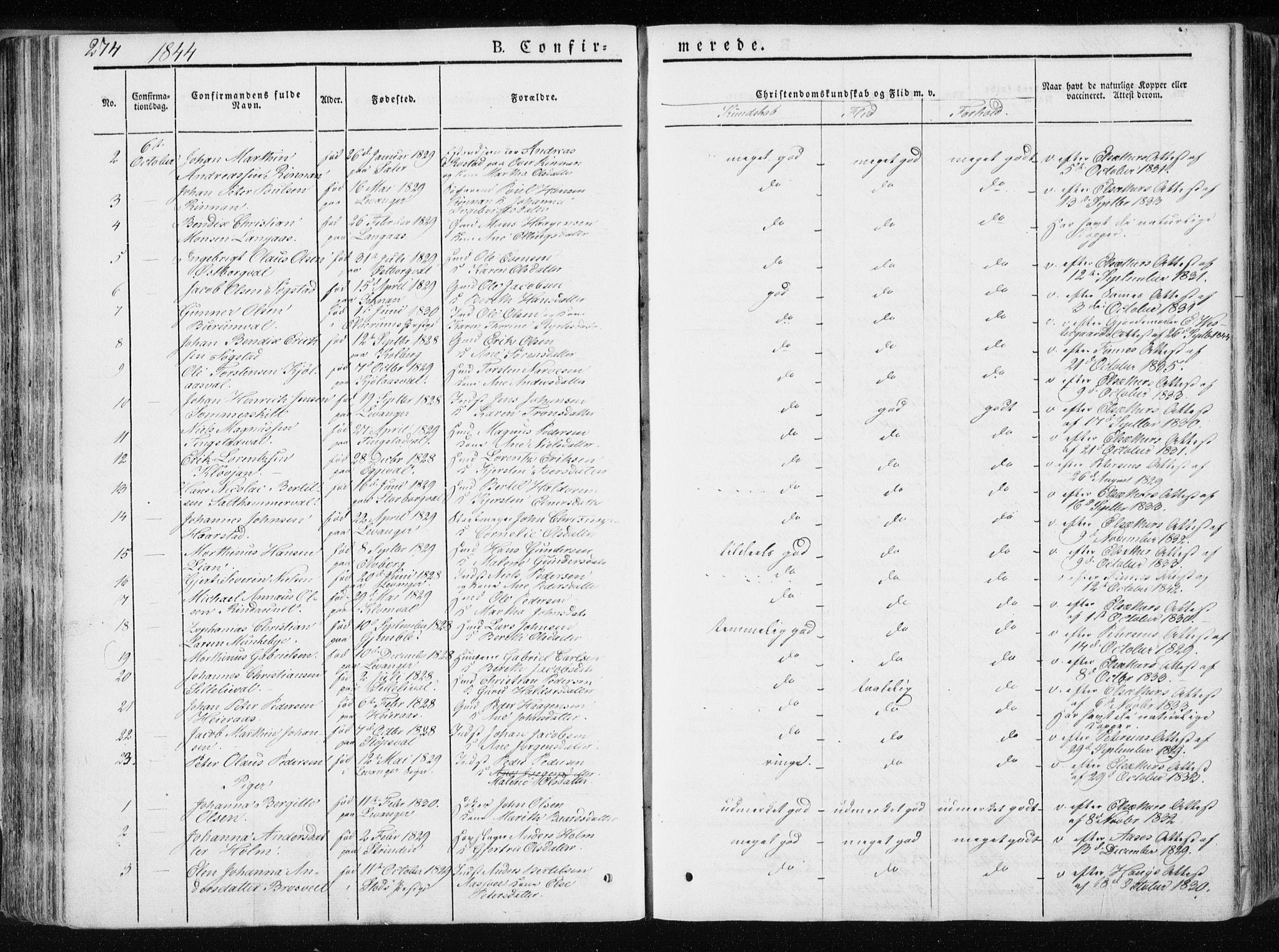 SAT, Ministerialprotokoller, klokkerbøker og fødselsregistre - Nord-Trøndelag, 717/L0154: Ministerialbok nr. 717A06 /1, 1836-1849, s. 274