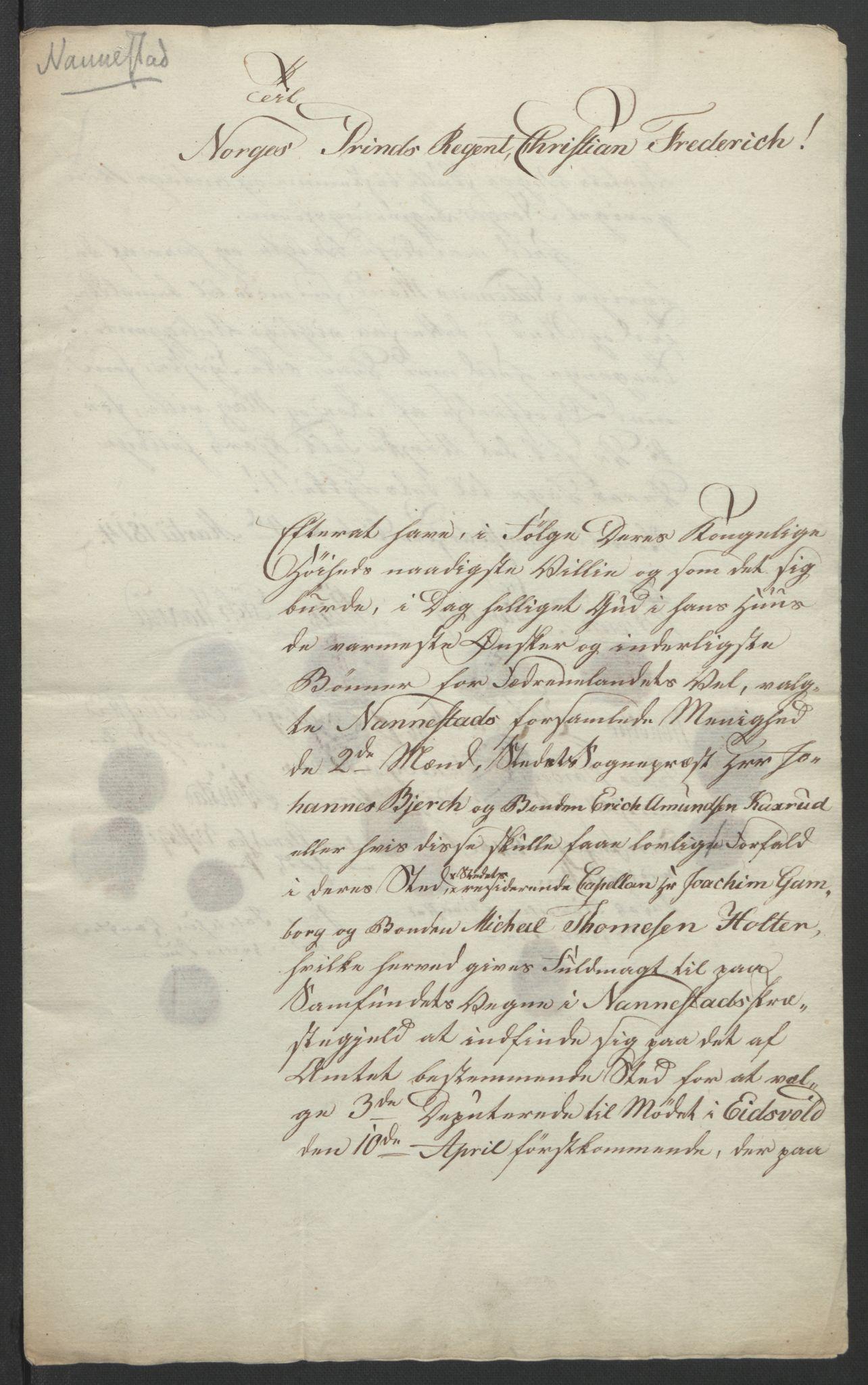 RA, Statsrådssekretariatet, D/Db/L0007: Fullmakter for Eidsvollsrepresentantene i 1814. , 1814, s. 192