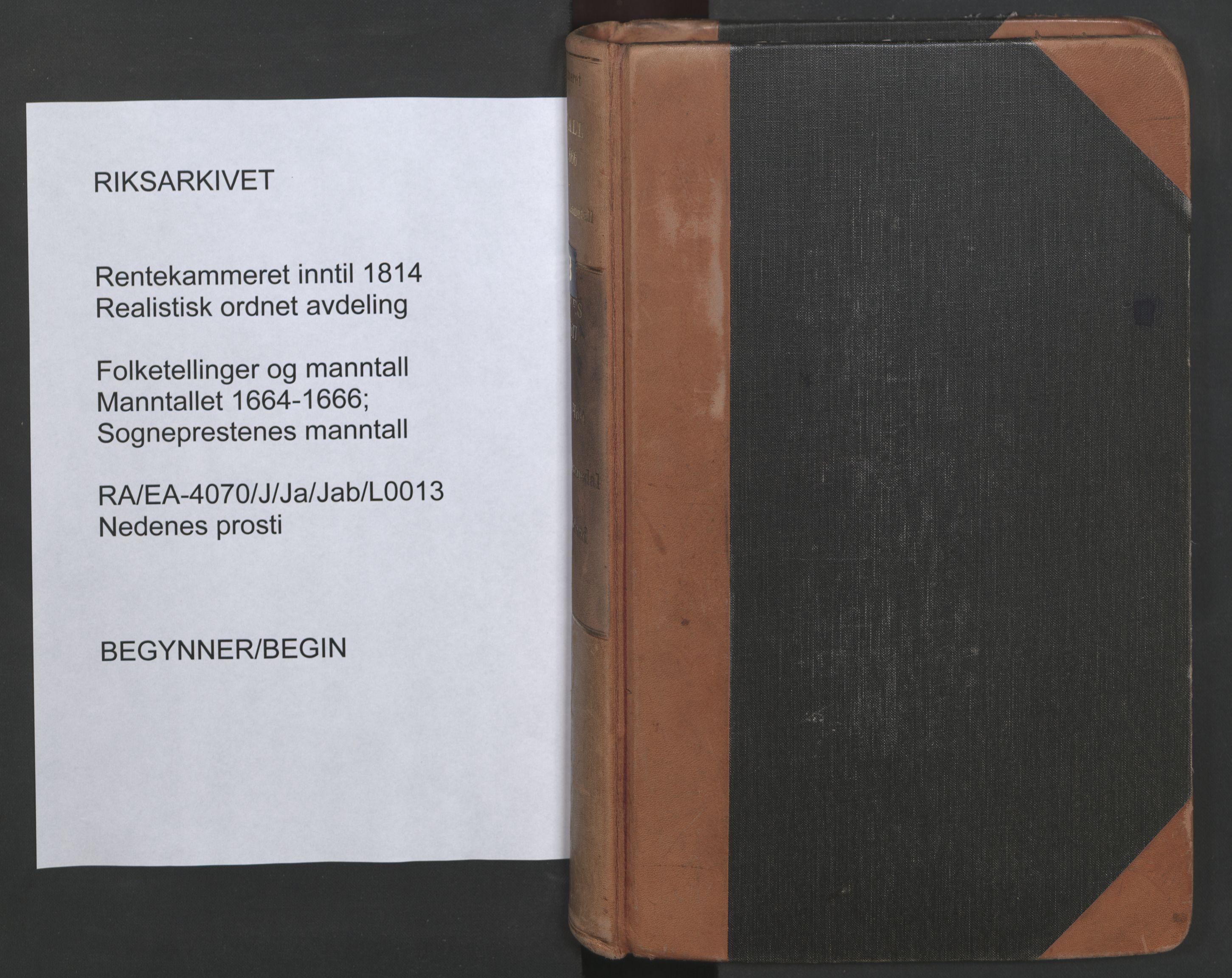 RA, Sogneprestenes manntall 1664-1666, nr. 13: Nedenes prosti, 1664-1666