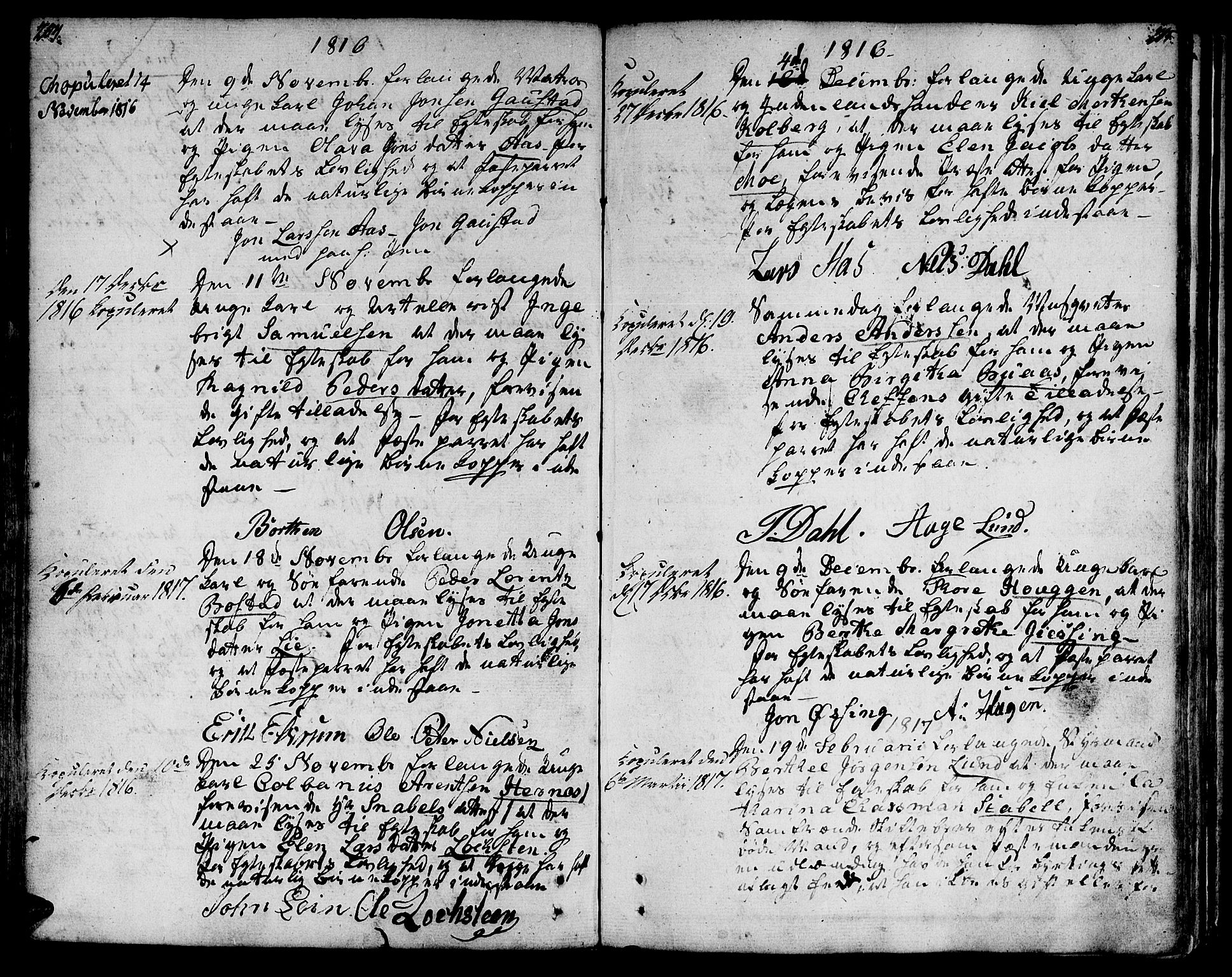 SAT, Ministerialprotokoller, klokkerbøker og fødselsregistre - Sør-Trøndelag, 601/L0042: Ministerialbok nr. 601A10, 1802-1830, s. 204-205