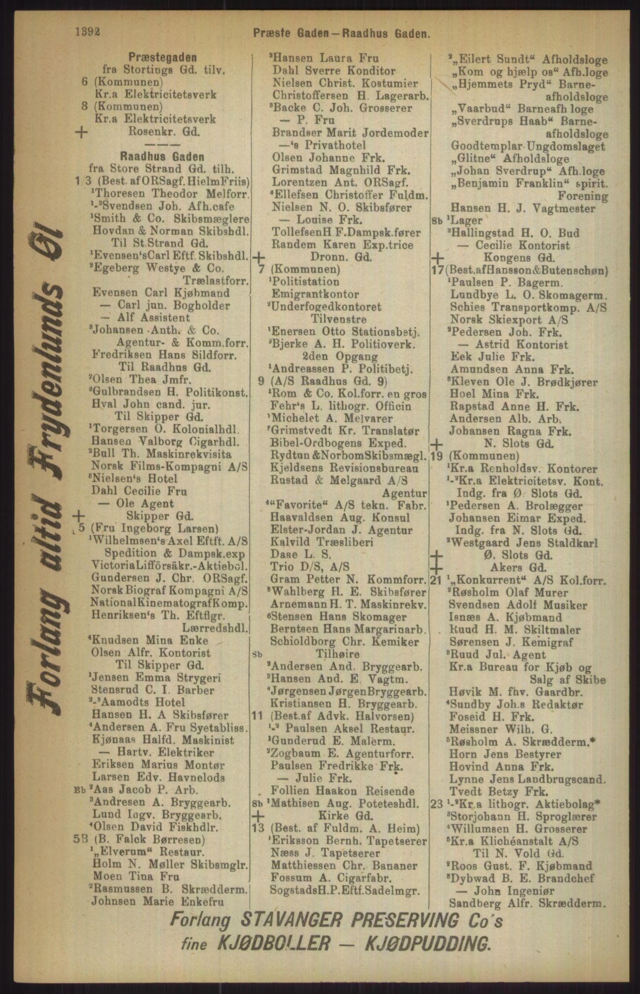 RA, Kristiania adressebok (publikasjon)*, 1911, s. 1392