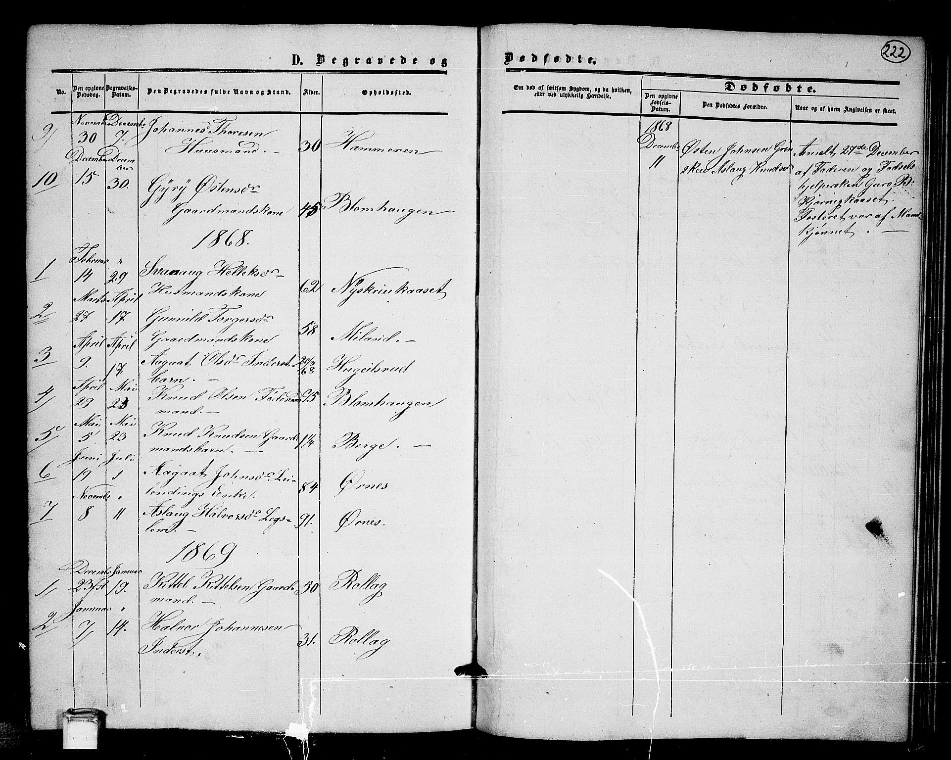 SAKO, Tinn kirkebøker, G/Gb/L0002: Klokkerbok nr. II 2, 1851-1886, s. 222