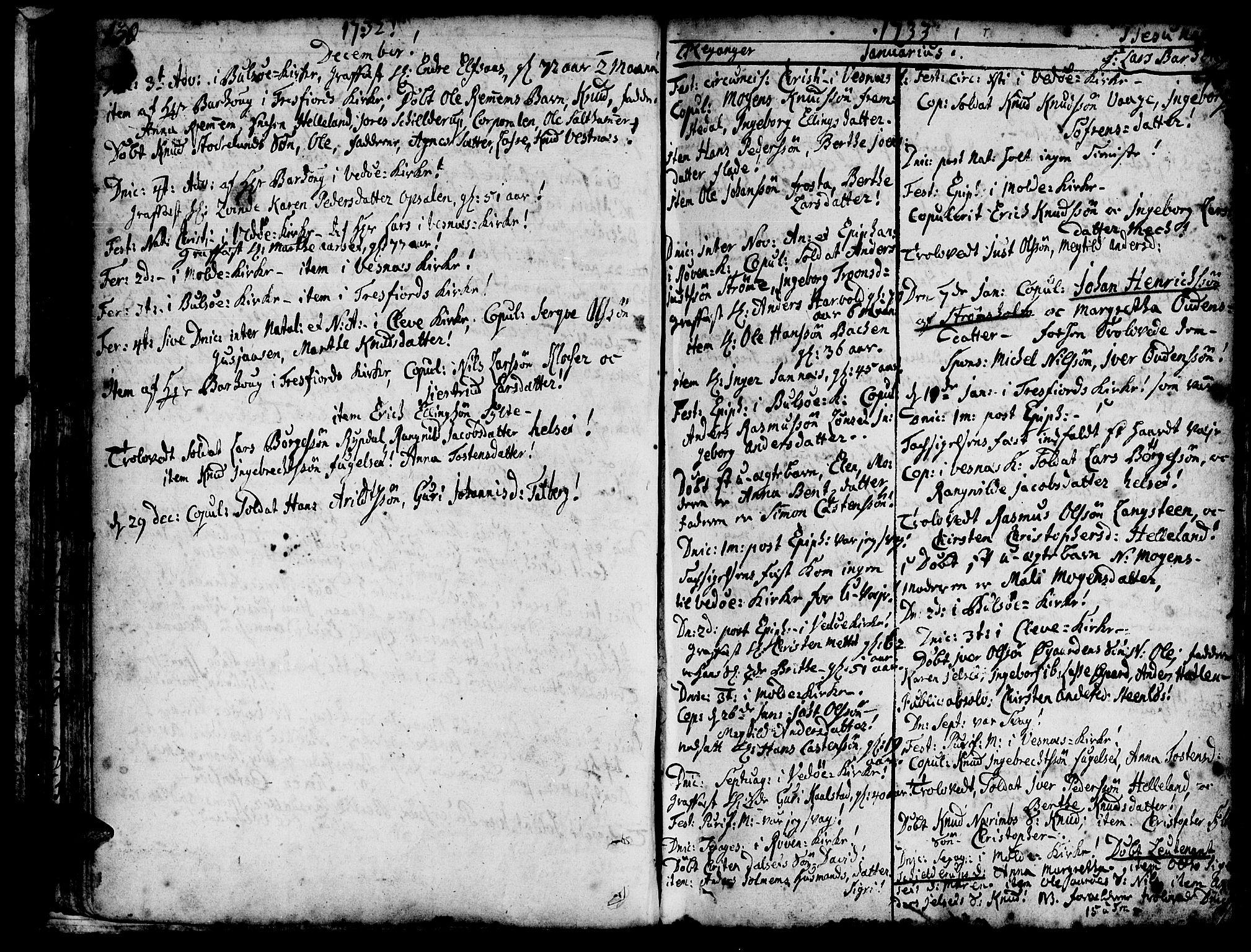 SAT, Ministerialprotokoller, klokkerbøker og fødselsregistre - Møre og Romsdal, 547/L0599: Ministerialbok nr. 547A01, 1721-1764, s. 132-133