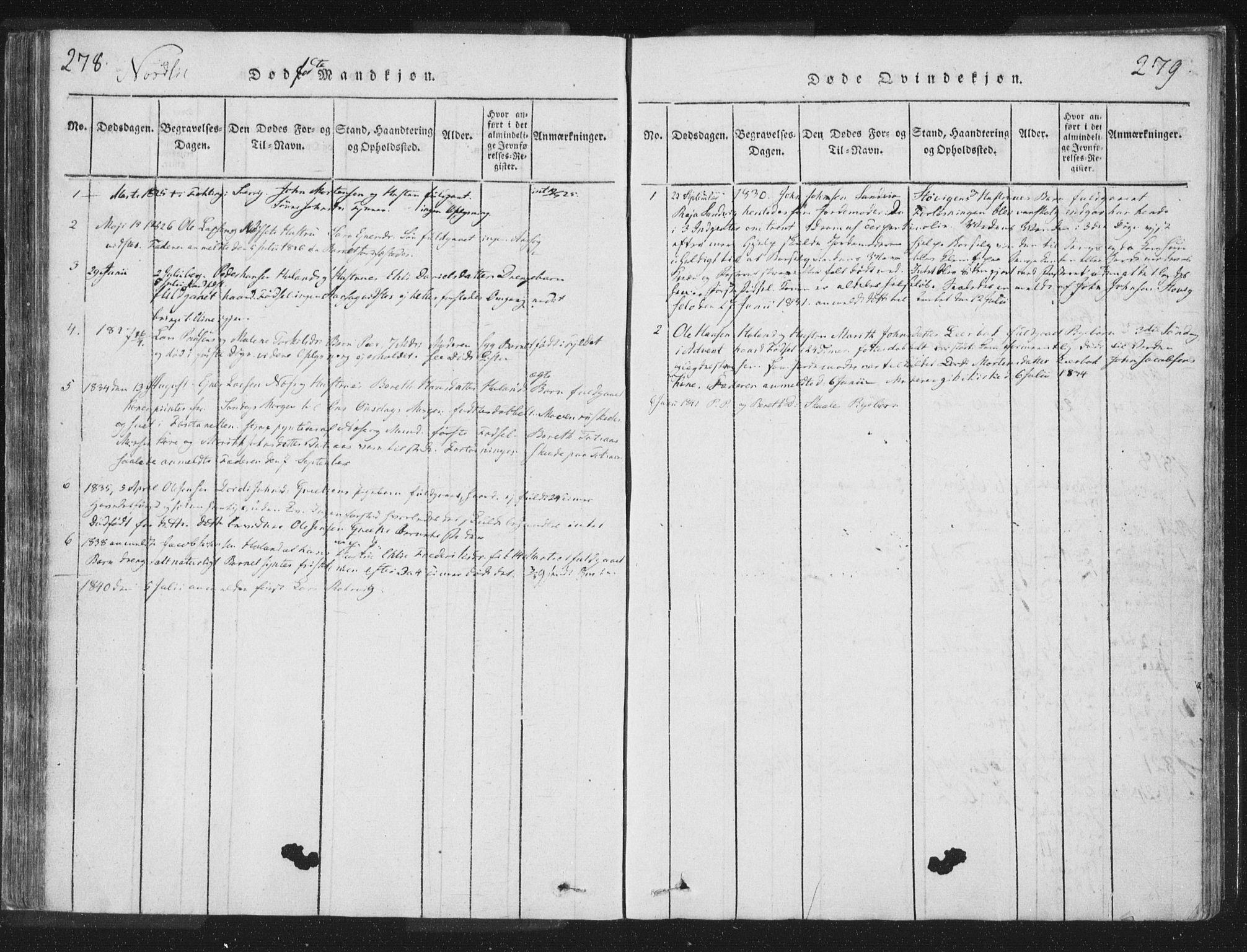 SAT, Ministerialprotokoller, klokkerbøker og fødselsregistre - Nord-Trøndelag, 755/L0491: Ministerialbok nr. 755A01 /1, 1817-1864, s. 278-279