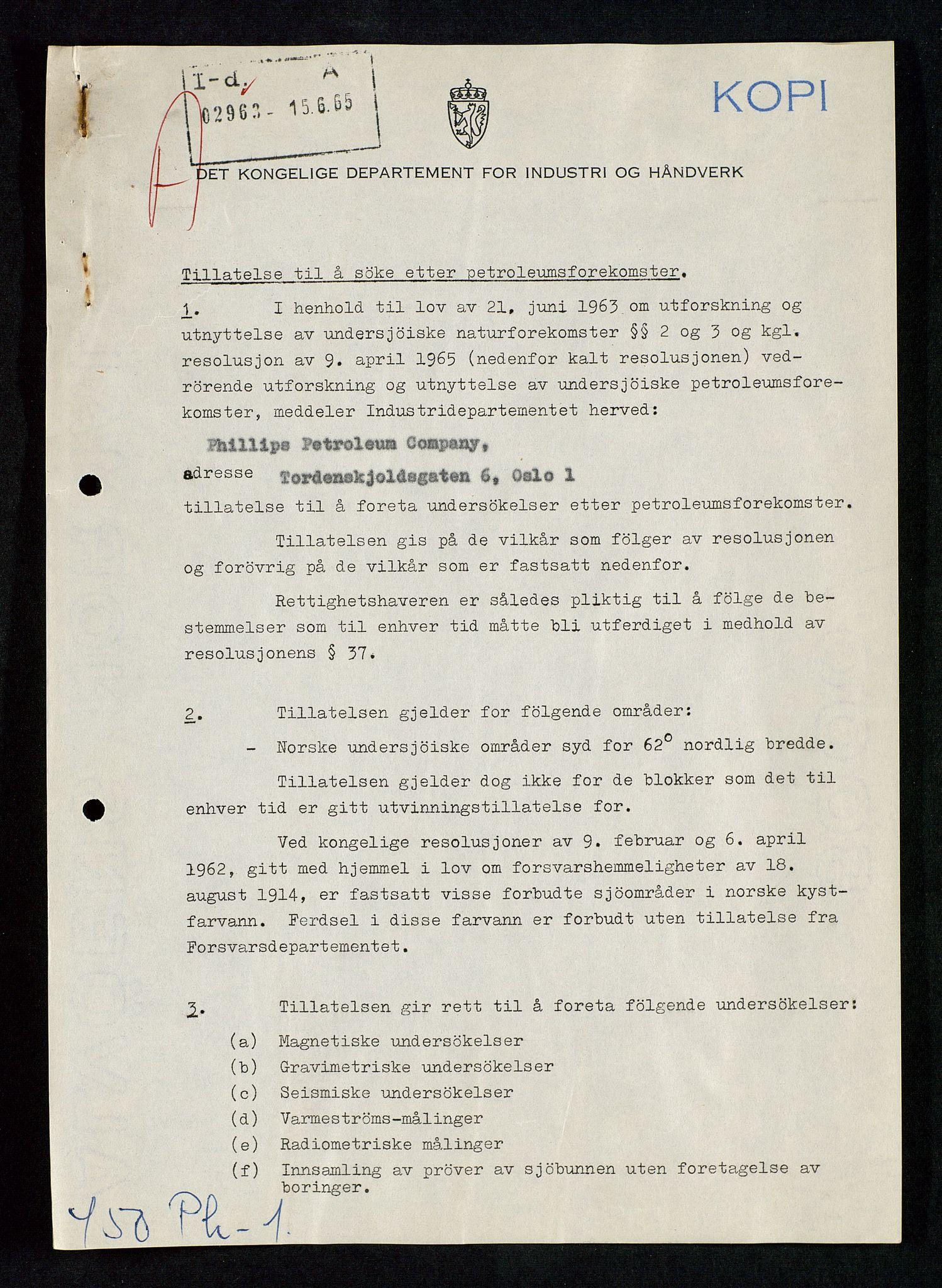 SAST, Industridepartementet, Oljekontoret, Da/L0003: Arkivnøkkel 711 Undersøkelser og utforskning, 1963-1971, s. 116