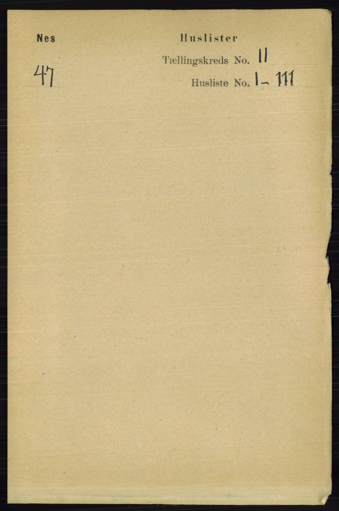 RA, Folketelling 1891 for 0236 Nes herred, 1891, s. 6237