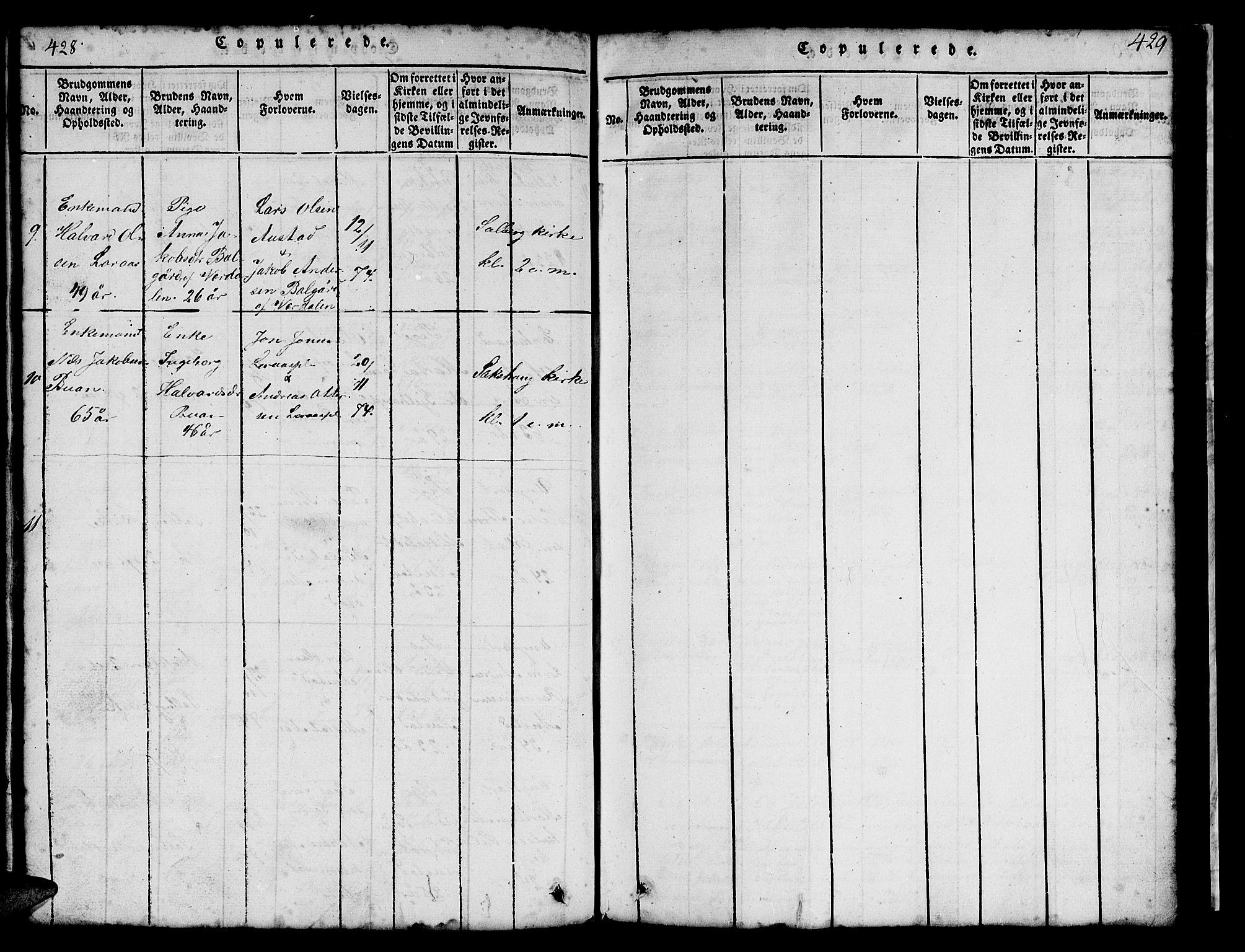SAT, Ministerialprotokoller, klokkerbøker og fødselsregistre - Nord-Trøndelag, 731/L0310: Klokkerbok nr. 731C01, 1816-1874, s. 428-429