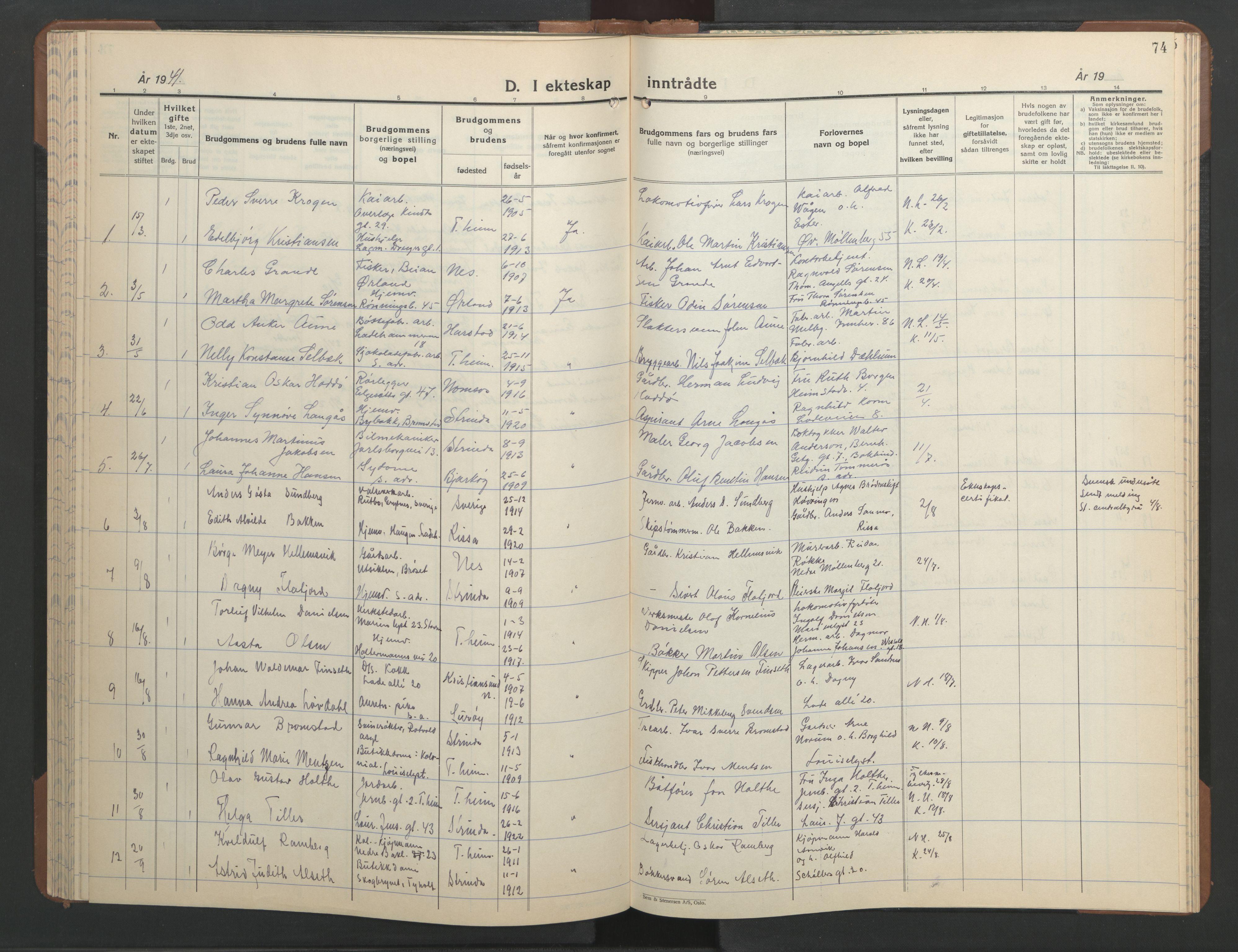 SAT, Ministerialprotokoller, klokkerbøker og fødselsregistre - Sør-Trøndelag, 606/L0315: Klokkerbok nr. 606C11, 1938-1947, s. 74