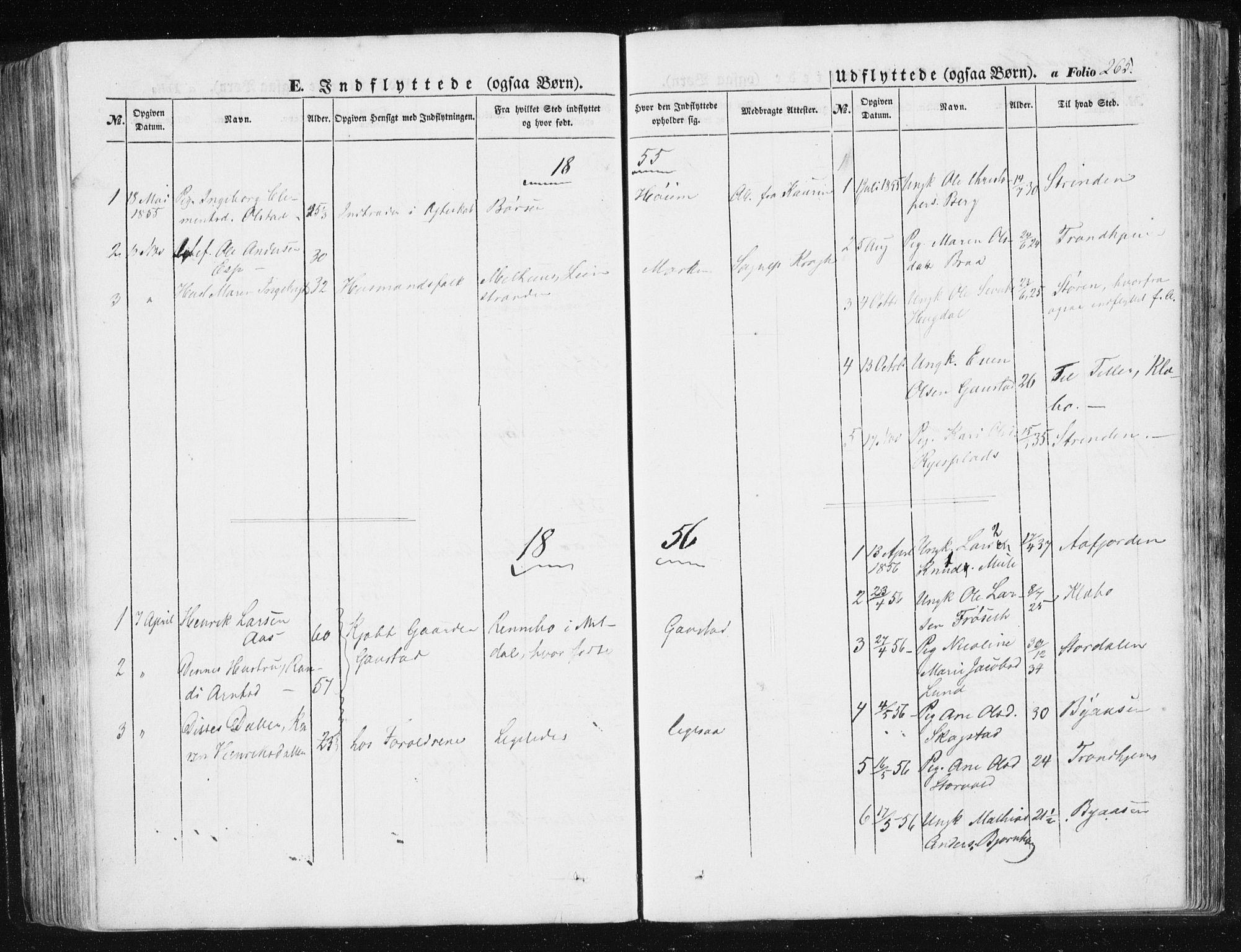 SAT, Ministerialprotokoller, klokkerbøker og fødselsregistre - Sør-Trøndelag, 612/L0376: Ministerialbok nr. 612A08, 1846-1859, s. 265