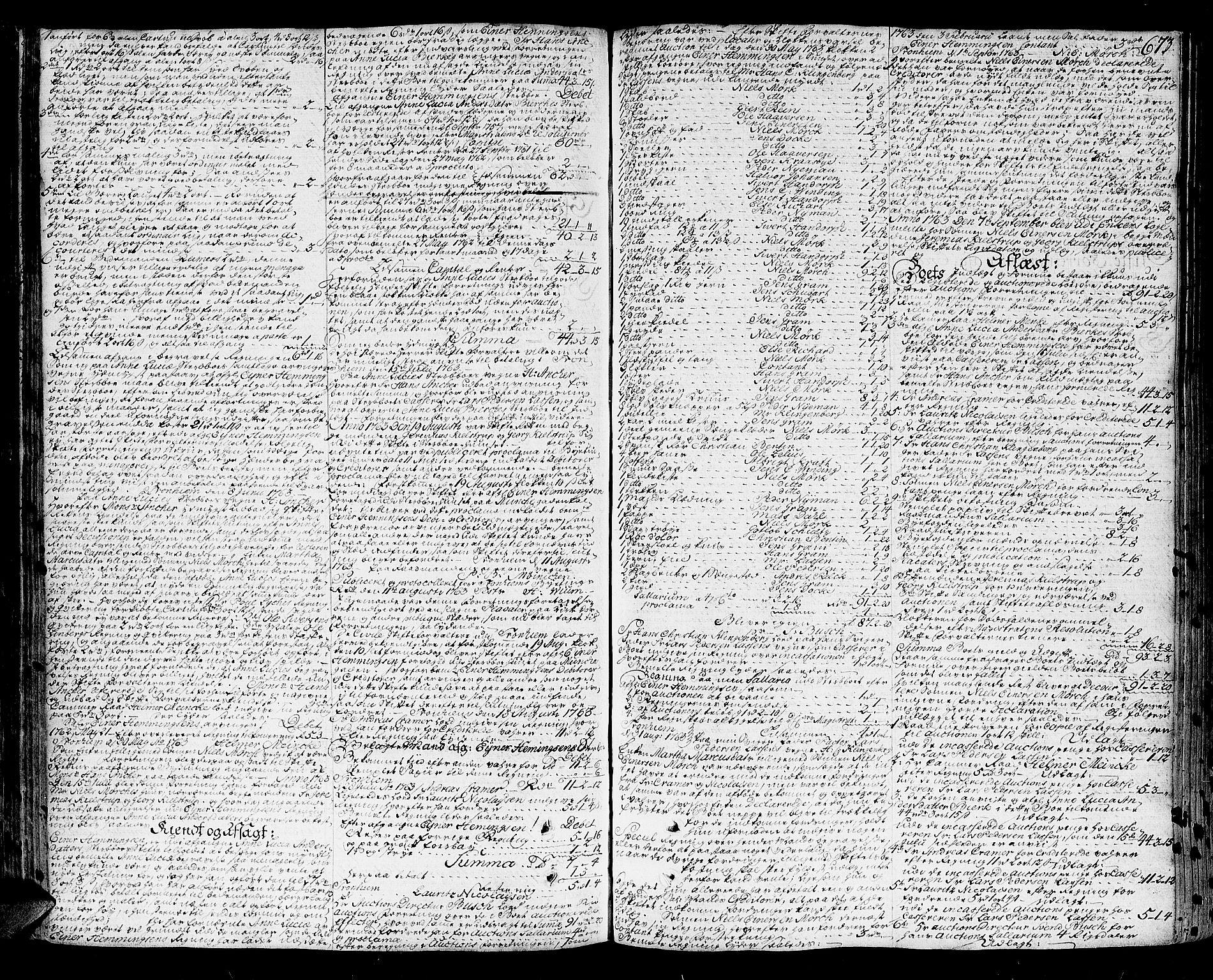 SAT, Trondheim byfogd, 3/3A/L0020: Skifteprotokoll - gml.nr.17. (m/ register) U, 1758-1765, s. 672b-673a