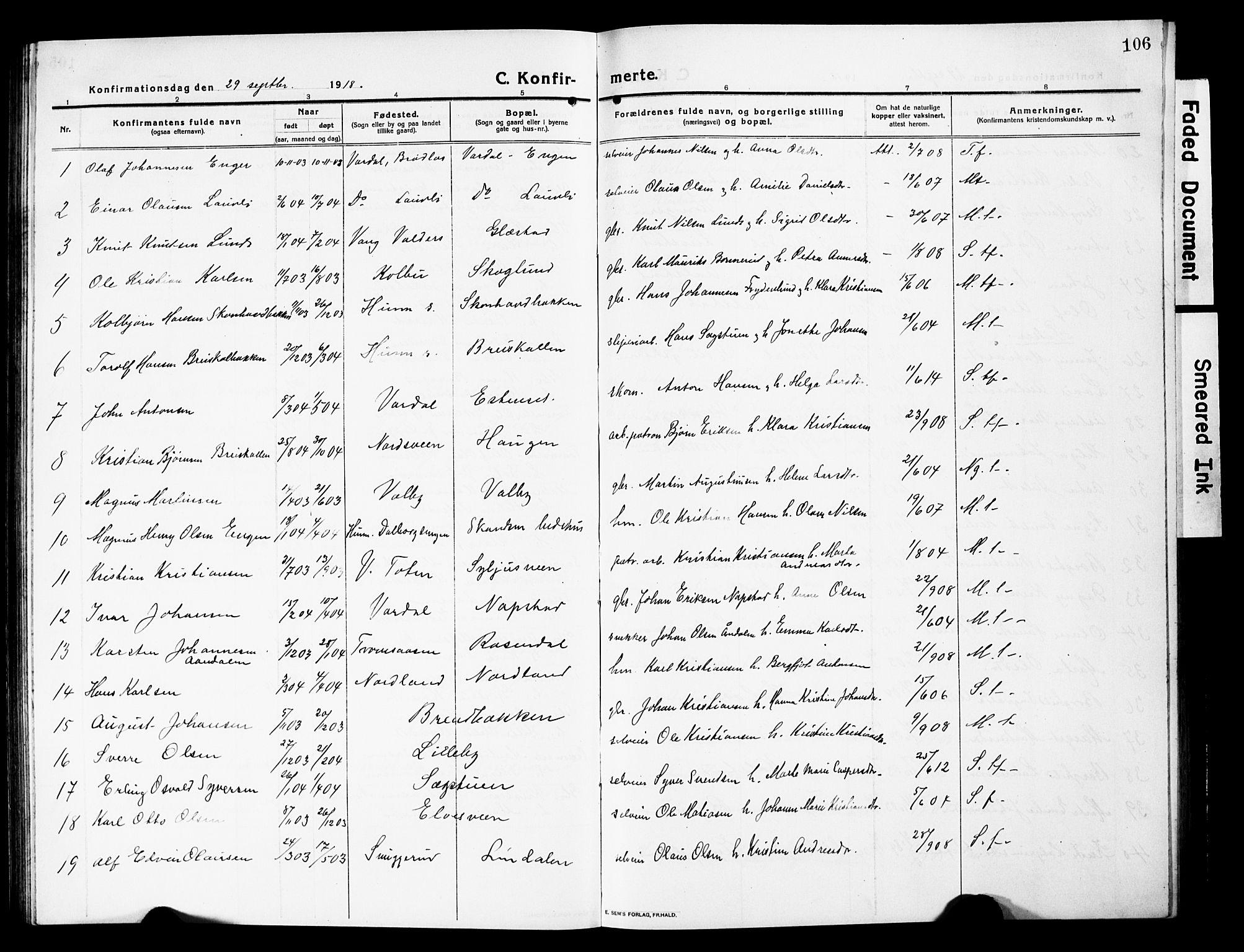 SAH, Vardal prestekontor, H/Ha/Hab/L0015: Klokkerbok nr. 15, 1914-1931, s. 106