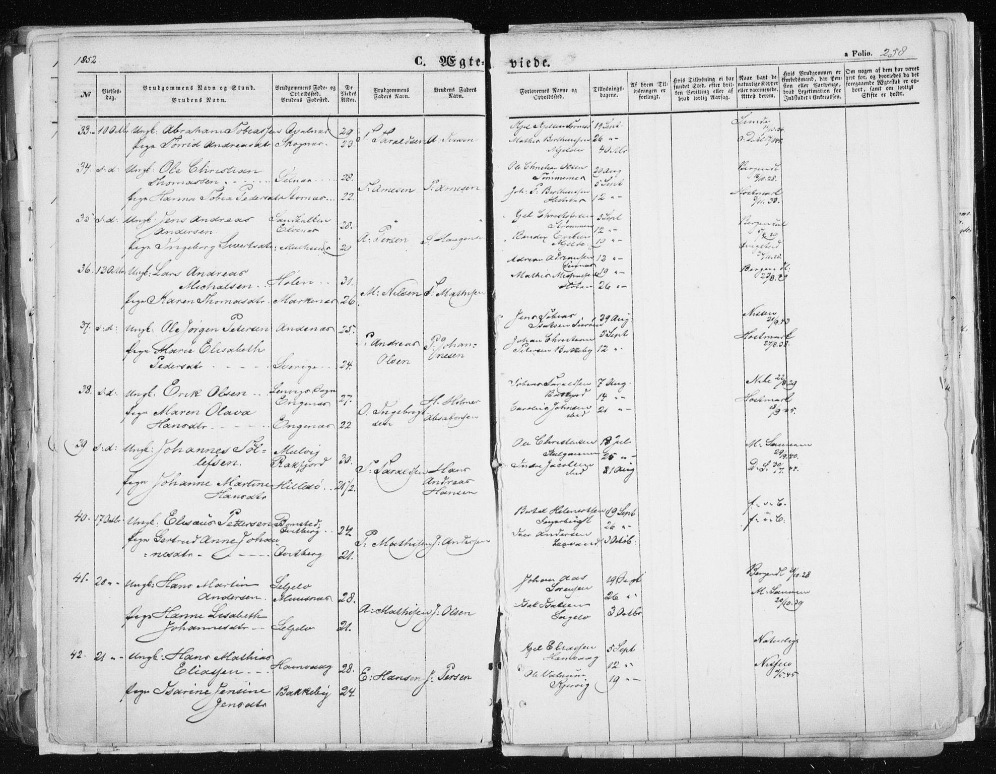 SATØ, Tromsø sokneprestkontor/stiftsprosti/domprosti, G/Ga/L0010kirke: Ministerialbok nr. 10, 1848-1855, s. 258