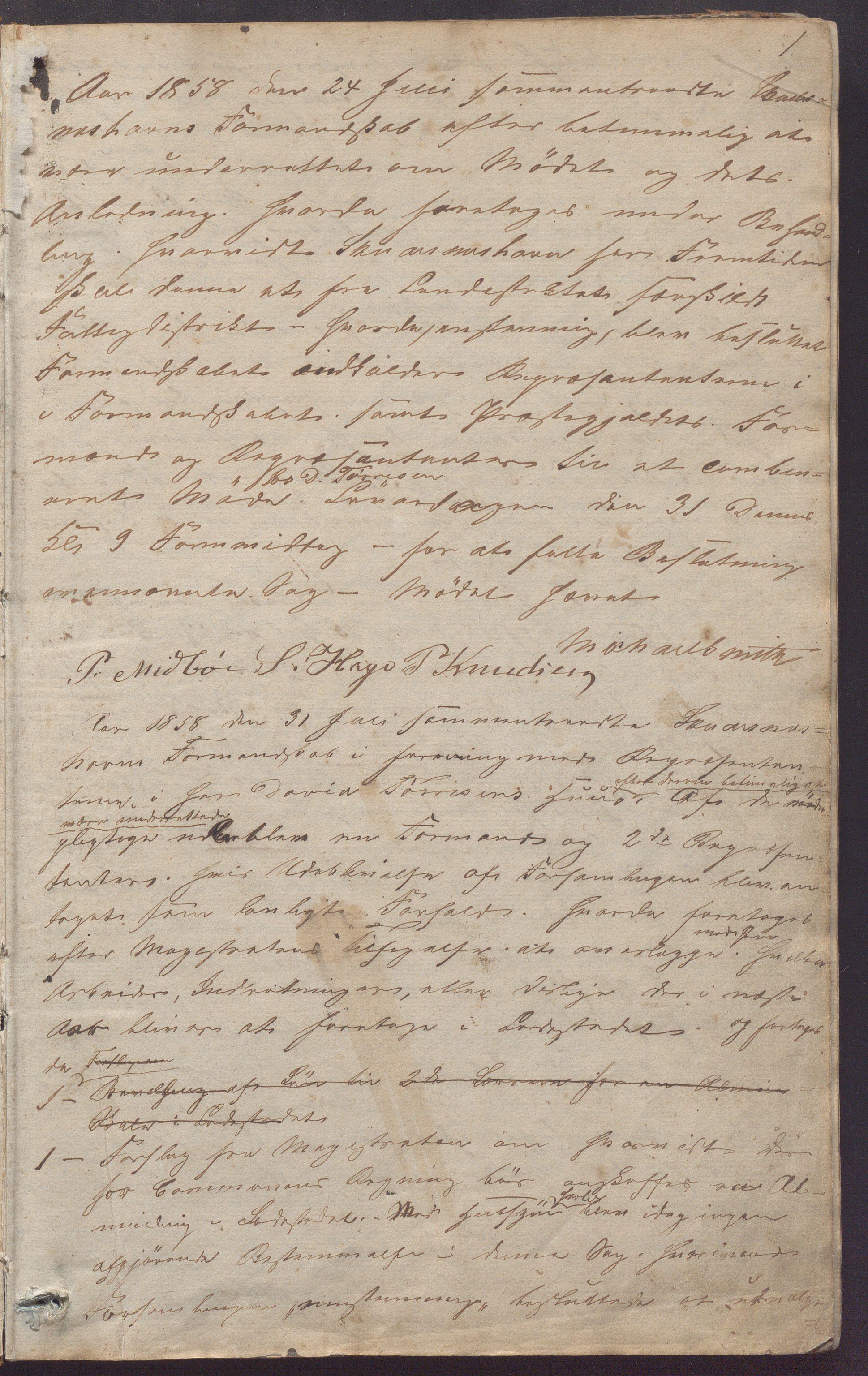 IKAR, Skudeneshavn kommune - Formannskapet, Aa/L0001: Møtebok, 1858-1880, s. 1a