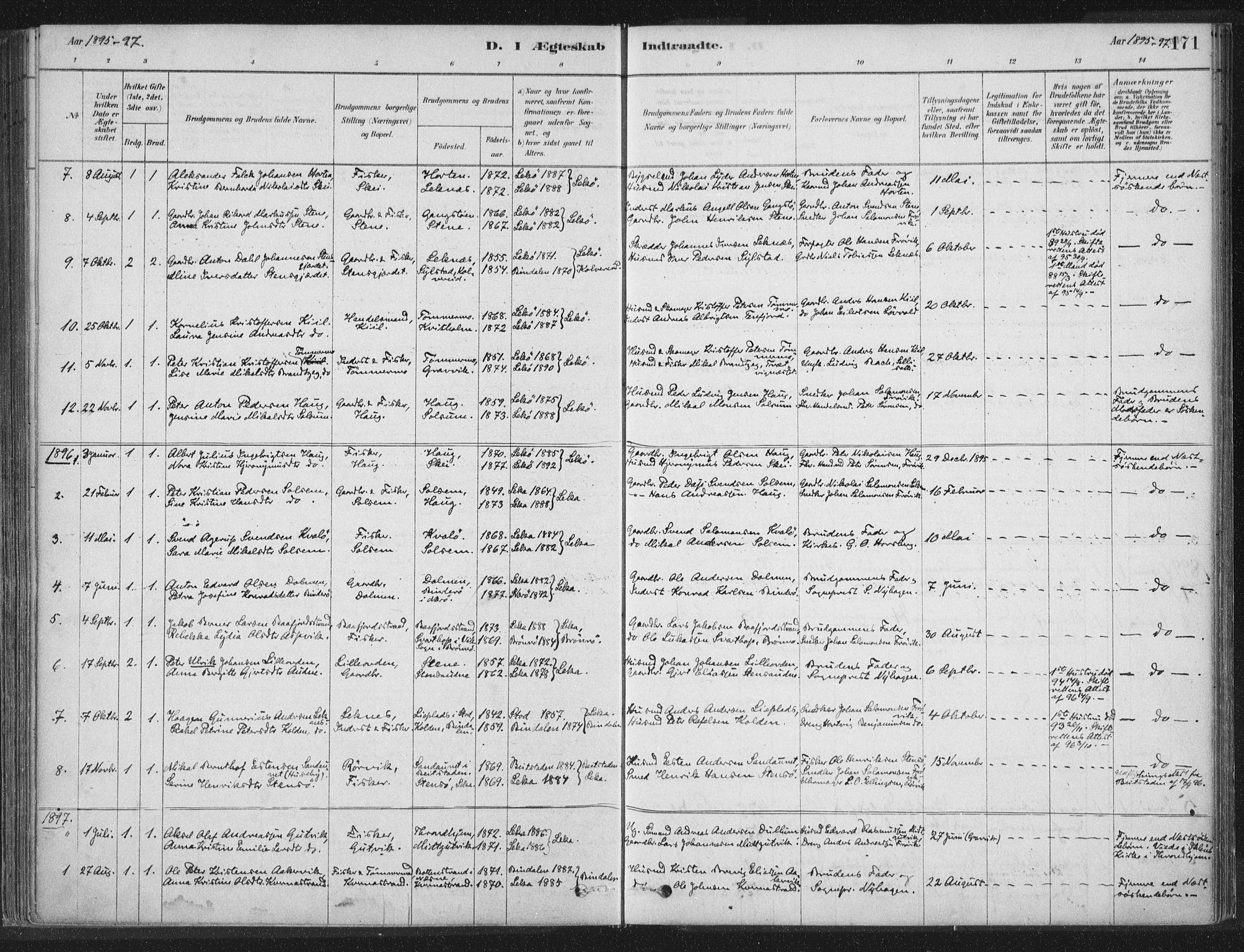 SAT, Ministerialprotokoller, klokkerbøker og fødselsregistre - Nord-Trøndelag, 788/L0697: Ministerialbok nr. 788A04, 1878-1902, s. 171