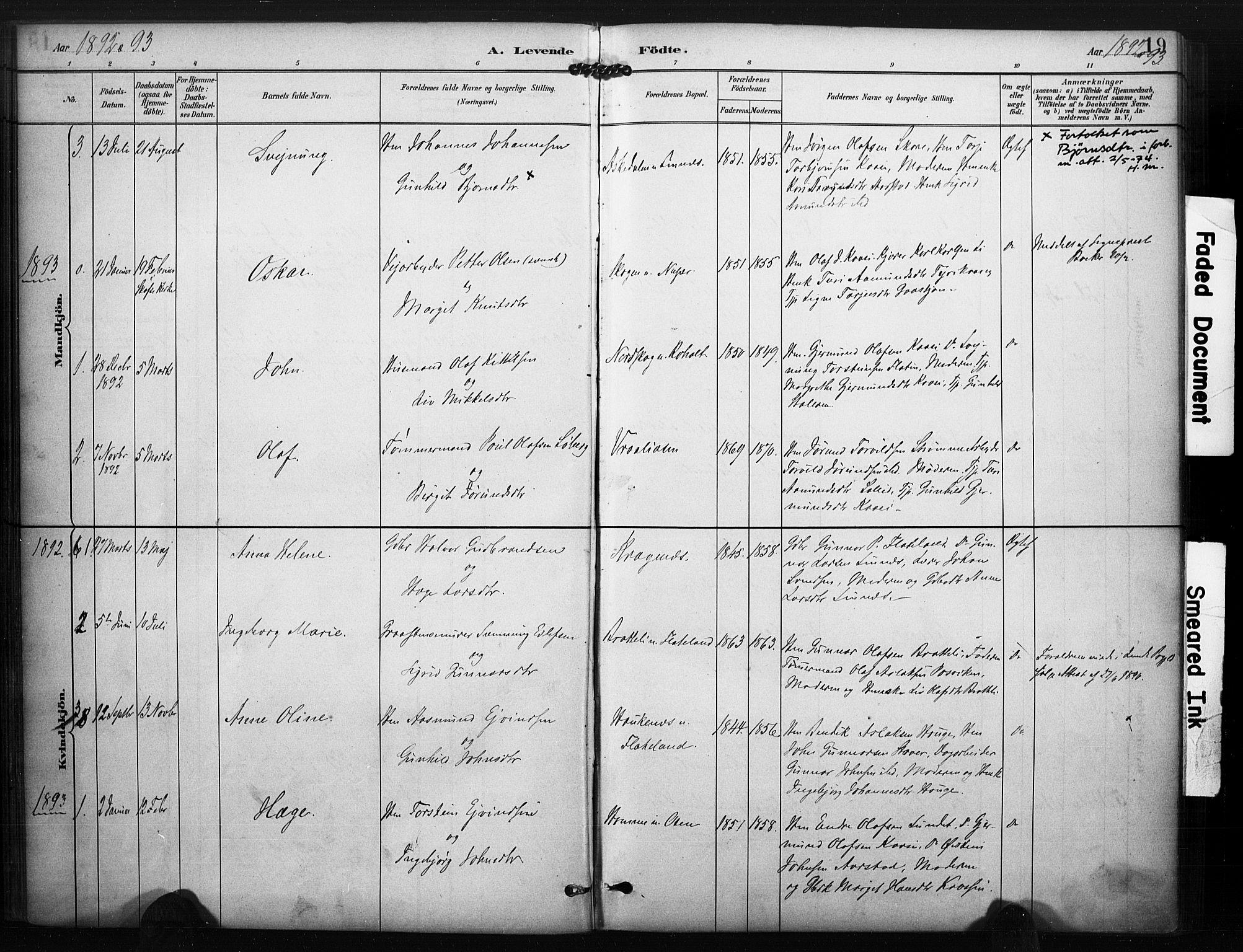SAKO, Kviteseid kirkebøker, F/Fc/L0002: Ministerialbok nr. III 2, 1882-1908, s. 19