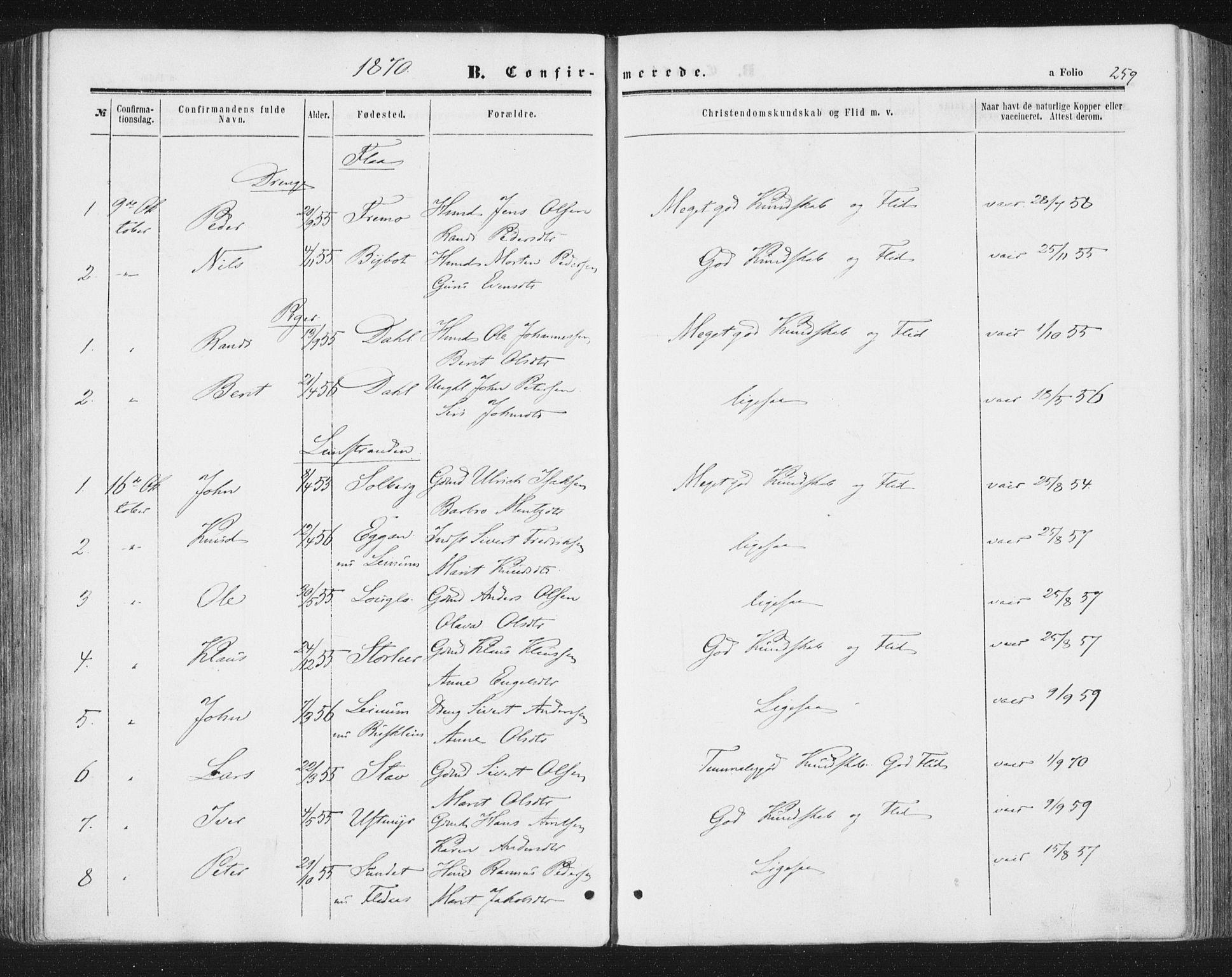 SAT, Ministerialprotokoller, klokkerbøker og fødselsregistre - Sør-Trøndelag, 691/L1077: Ministerialbok nr. 691A09, 1862-1873, s. 259