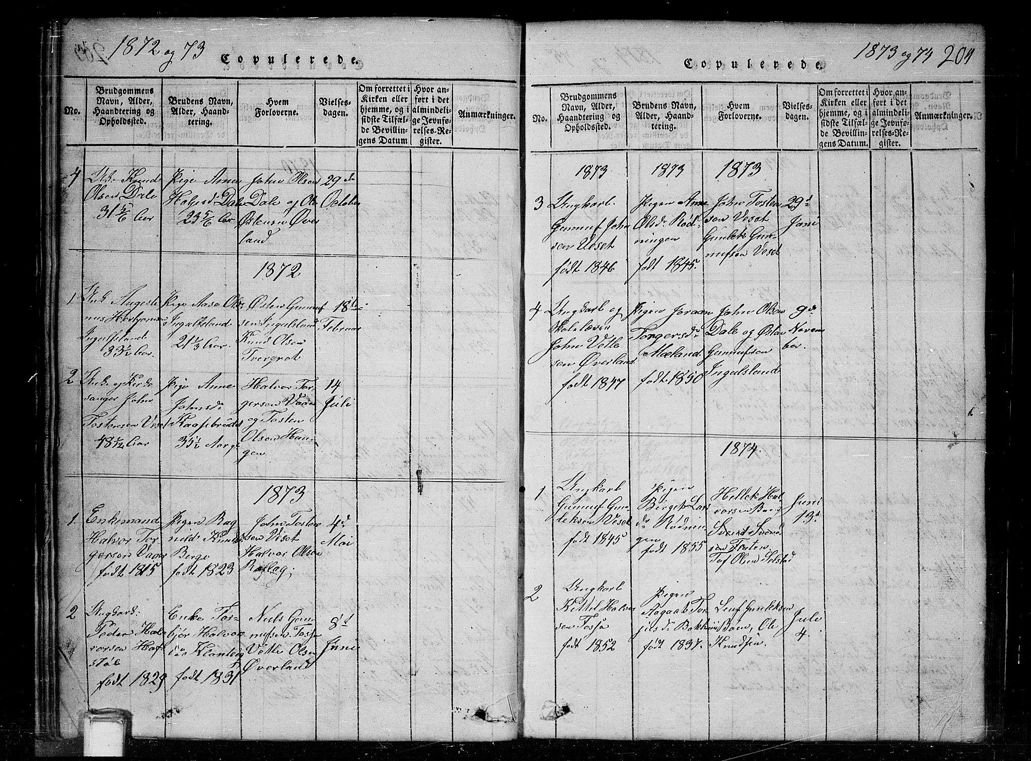SAKO, Tinn kirkebøker, G/Gc/L0001: Klokkerbok nr. III 1, 1815-1879, s. 204