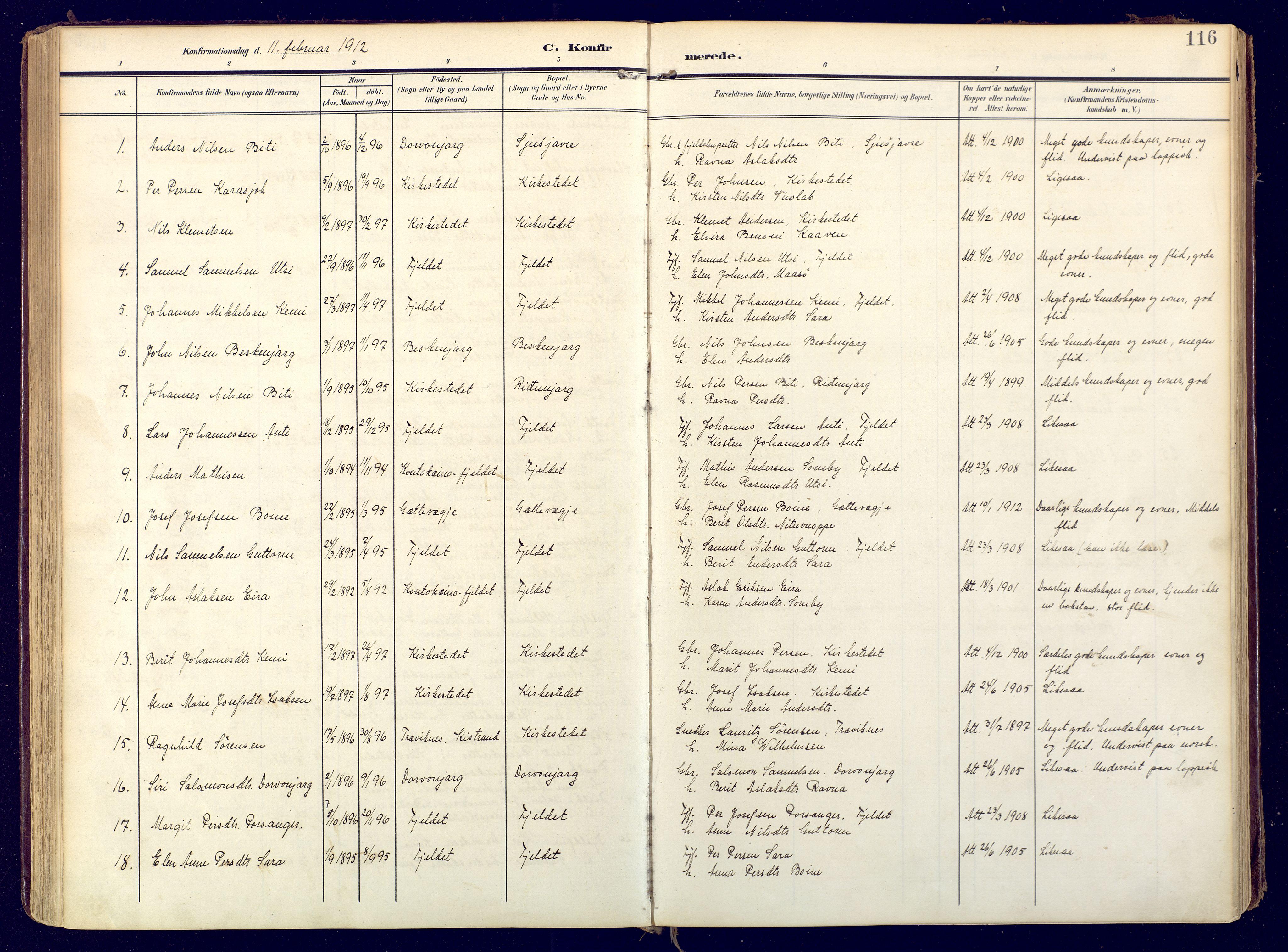 SATØ, Karasjok sokneprestkontor, H/Ha: Ministerialbok nr. 3, 1907-1926, s. 116