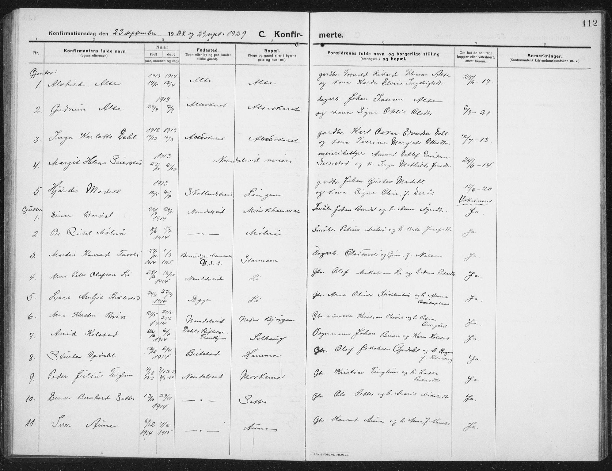 SAT, Ministerialprotokoller, klokkerbøker og fødselsregistre - Nord-Trøndelag, 742/L0413: Klokkerbok nr. 742C04, 1911-1938, s. 112