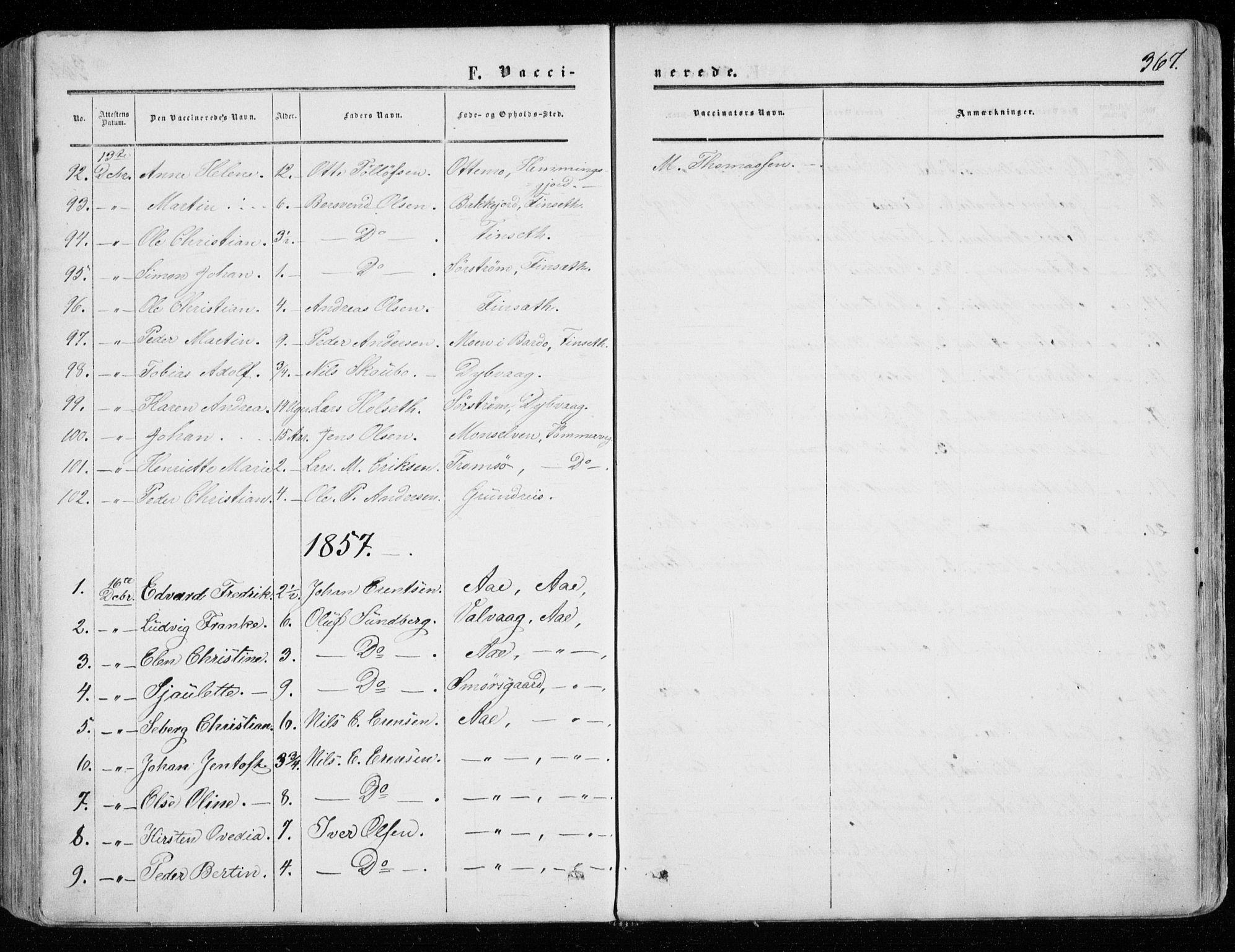SATØ, Tranøy sokneprestkontor, I/Ia/Iaa/L0007kirke: Ministerialbok nr. 7, 1856-1866, s. 367