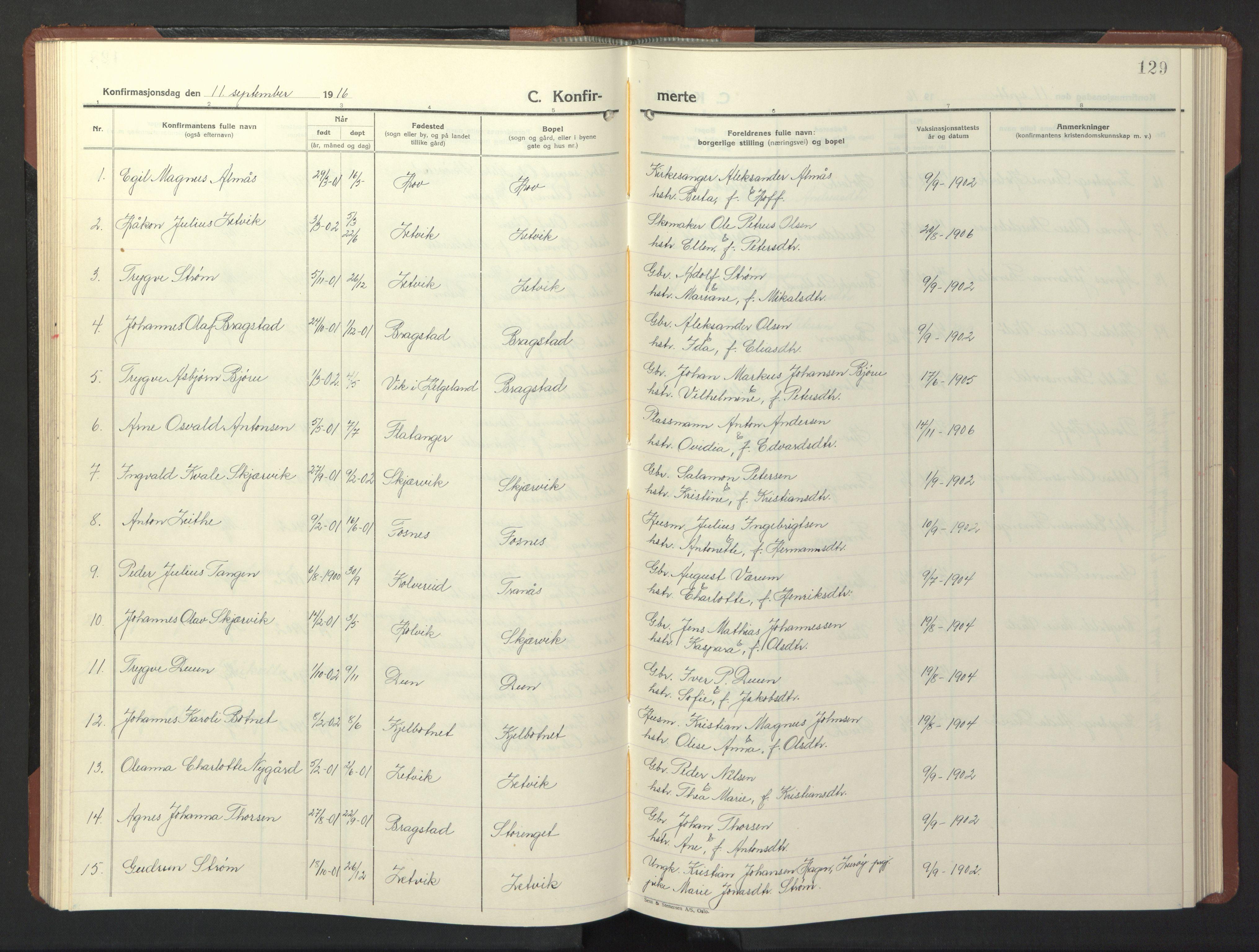 SAT, Ministerialprotokoller, klokkerbøker og fødselsregistre - Nord-Trøndelag, 773/L0625: Klokkerbok nr. 773C01, 1910-1952, s. 129
