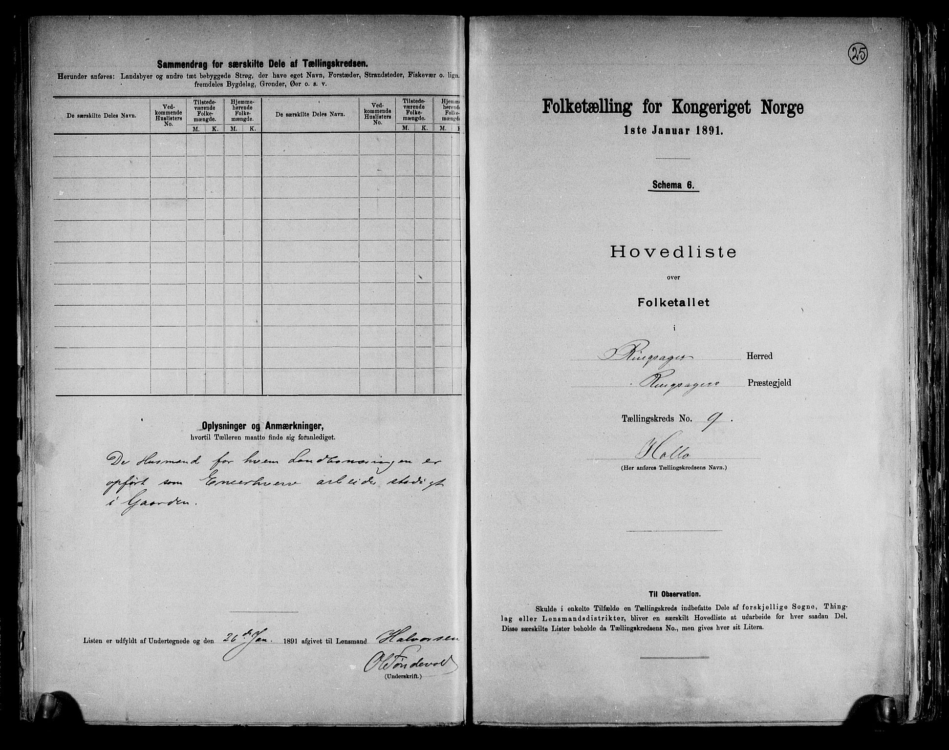 RA, Folketelling 1891 for 0412 Ringsaker herred, 1891, s. 25