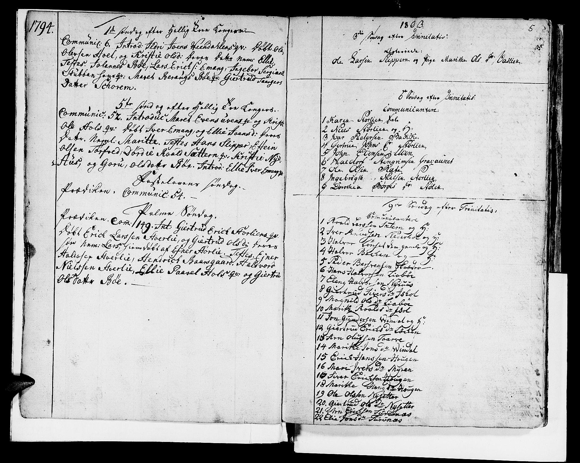 SAT, Ministerialprotokoller, klokkerbøker og fødselsregistre - Sør-Trøndelag, 679/L0921: Klokkerbok nr. 679C01, 1792-1840, s. 5