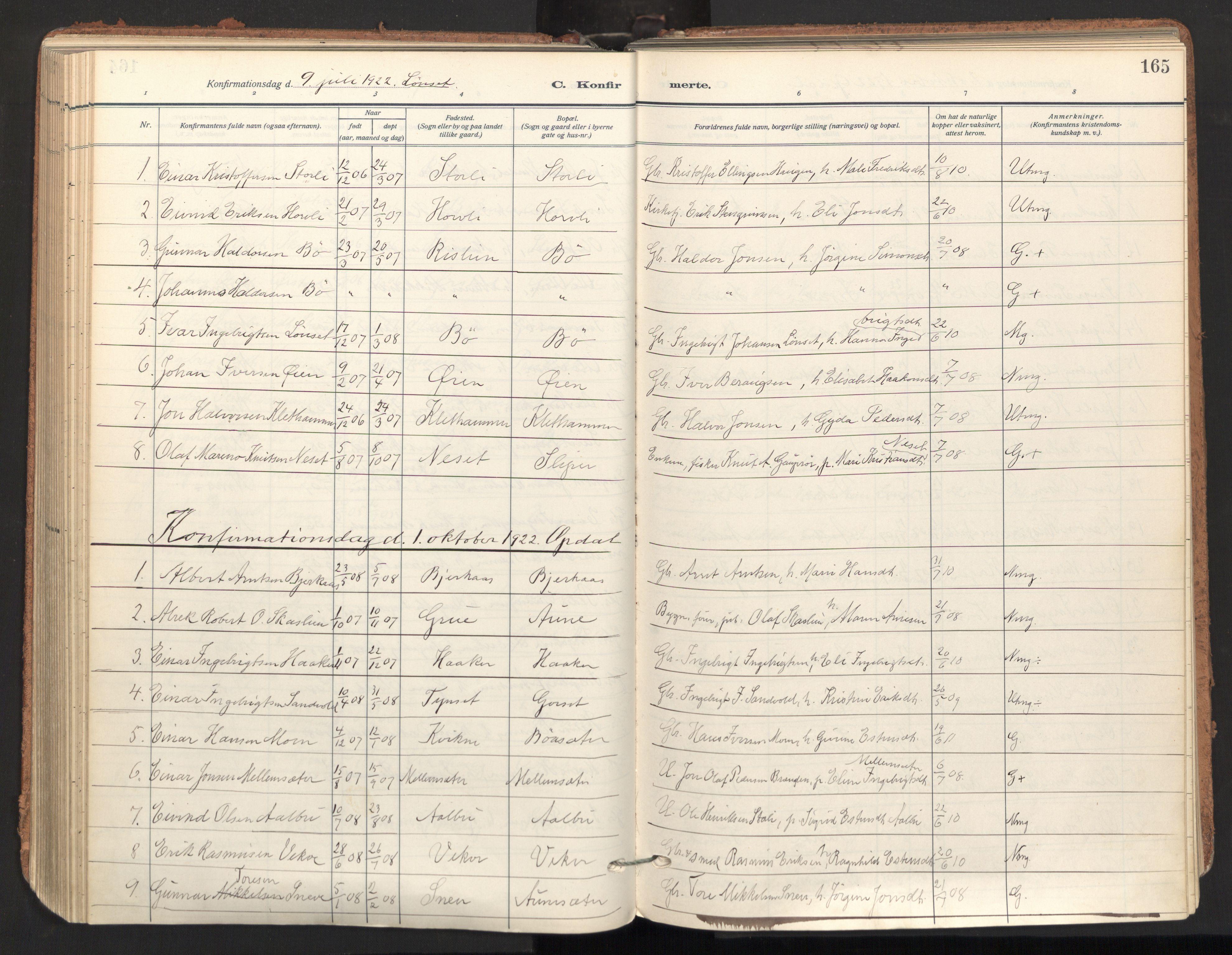 SAT, Ministerialprotokoller, klokkerbøker og fødselsregistre - Sør-Trøndelag, 678/L0909: Ministerialbok nr. 678A17, 1912-1930, s. 165