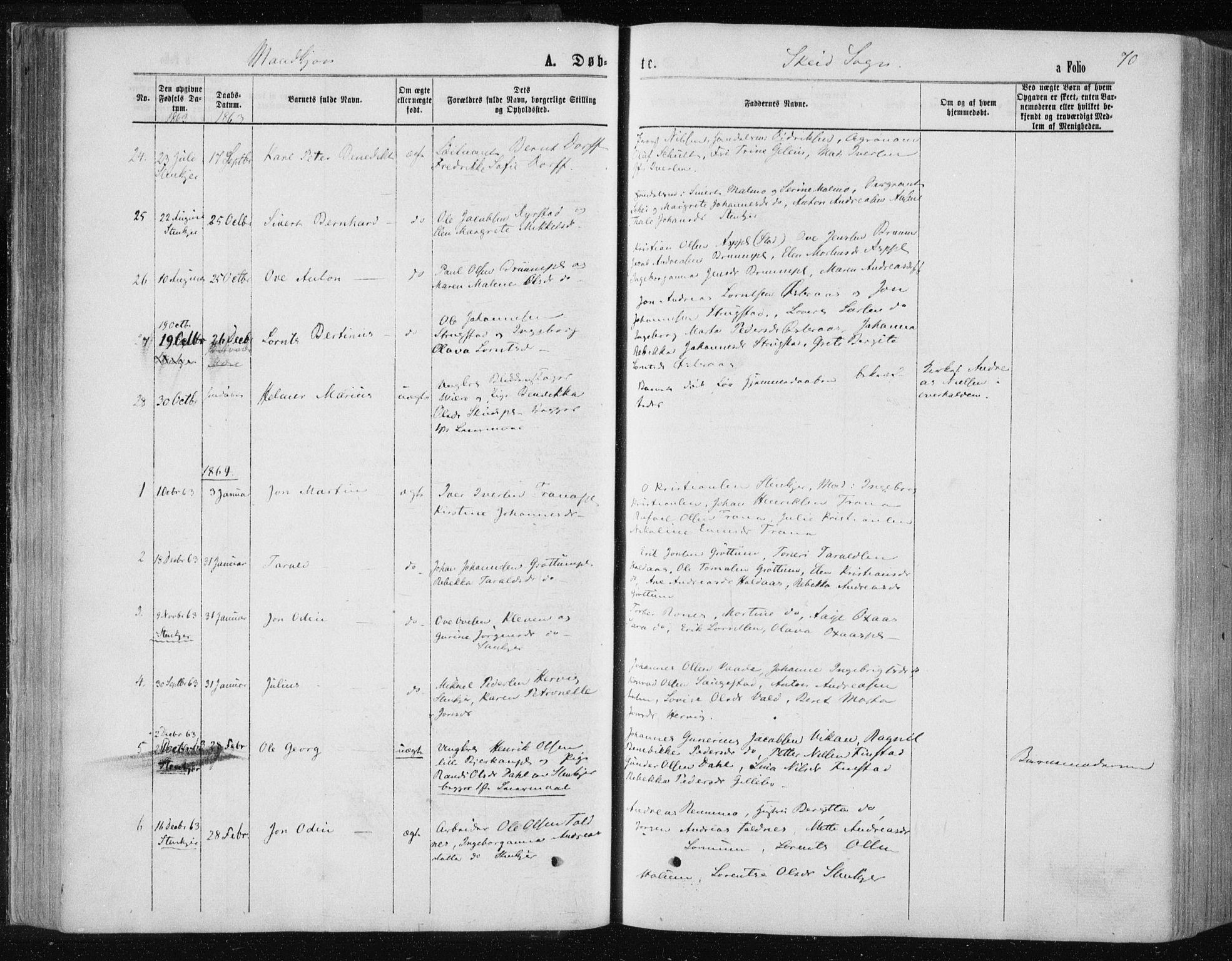 SAT, Ministerialprotokoller, klokkerbøker og fødselsregistre - Nord-Trøndelag, 735/L0345: Ministerialbok nr. 735A08 /2, 1863-1872, s. 70