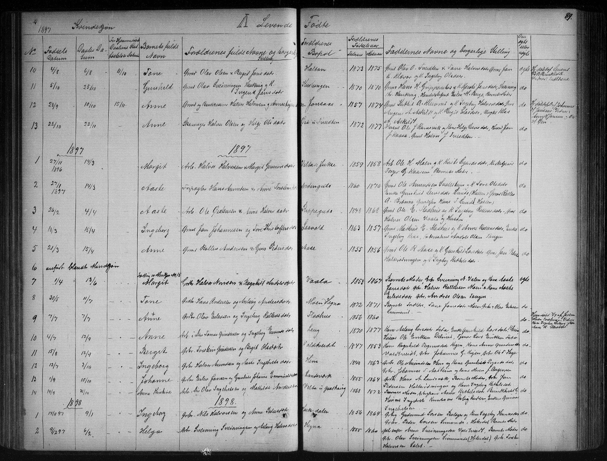 SAKO, Sauherad kirkebøker, G/Ga/L0003: Klokkerbok nr. I 3, 1866-1905, s. 89