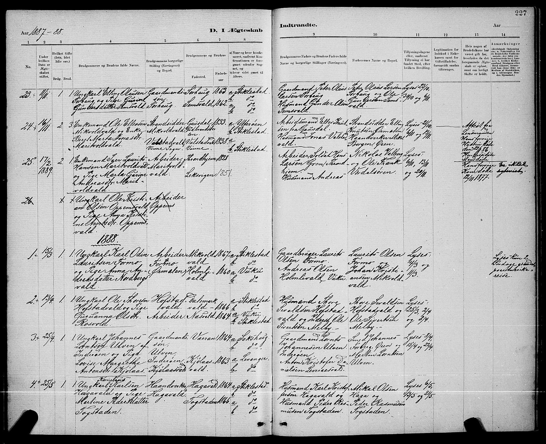 SAT, Ministerialprotokoller, klokkerbøker og fødselsregistre - Nord-Trøndelag, 723/L0256: Klokkerbok nr. 723C04, 1879-1890, s. 227