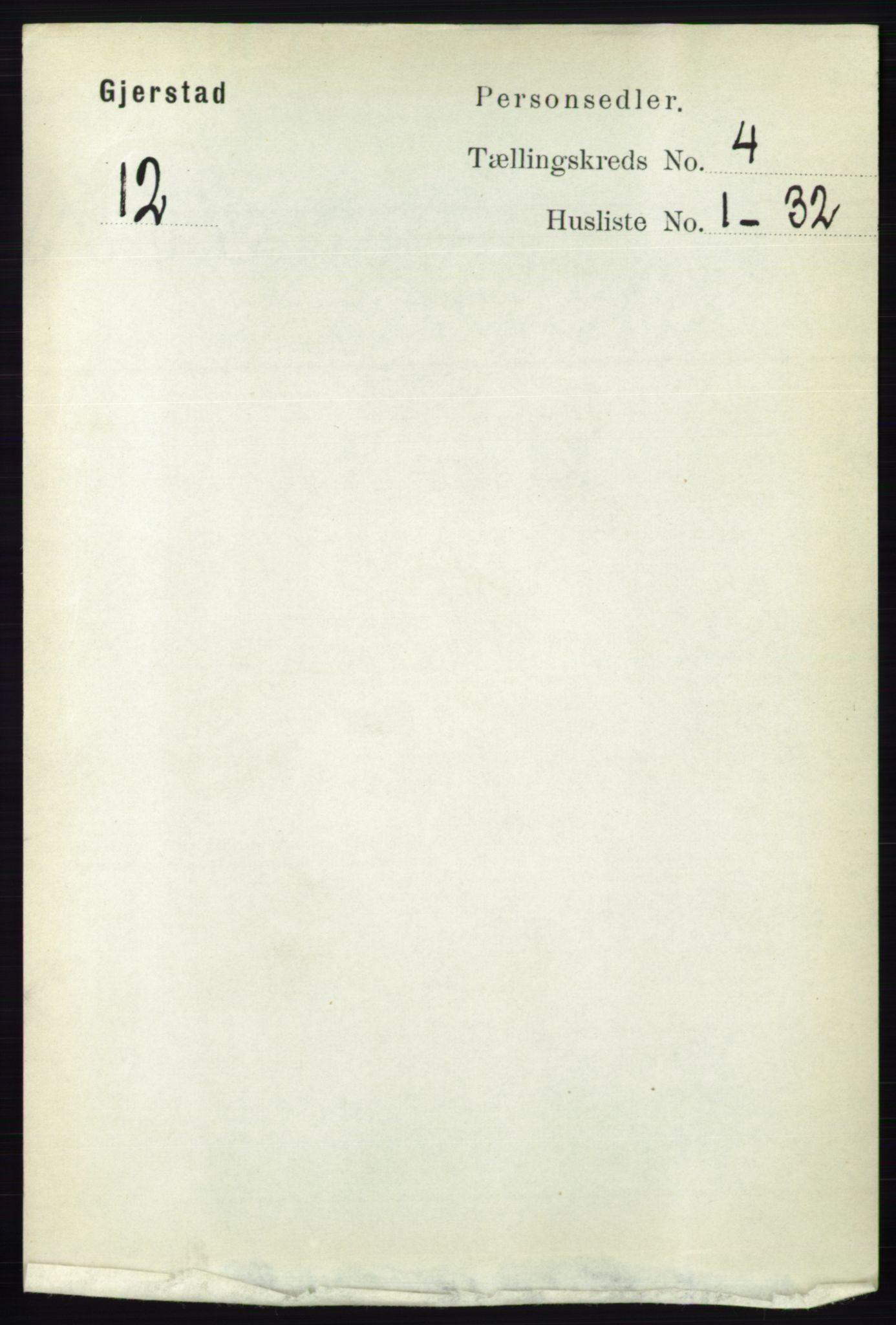 RA, Folketelling 1891 for 0911 Gjerstad herred, 1891, s. 1506