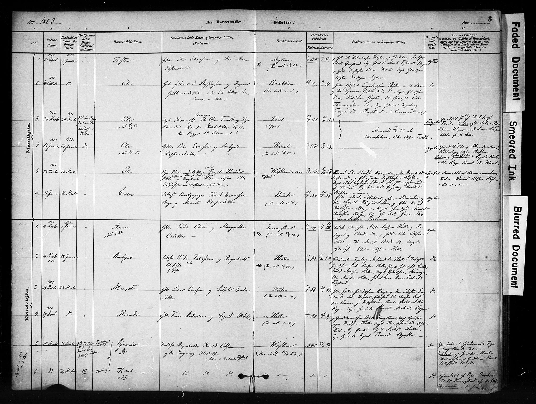 SAH, Vang prestekontor, Valdres, Ministerialbok nr. 9, 1882-1914, s. 3