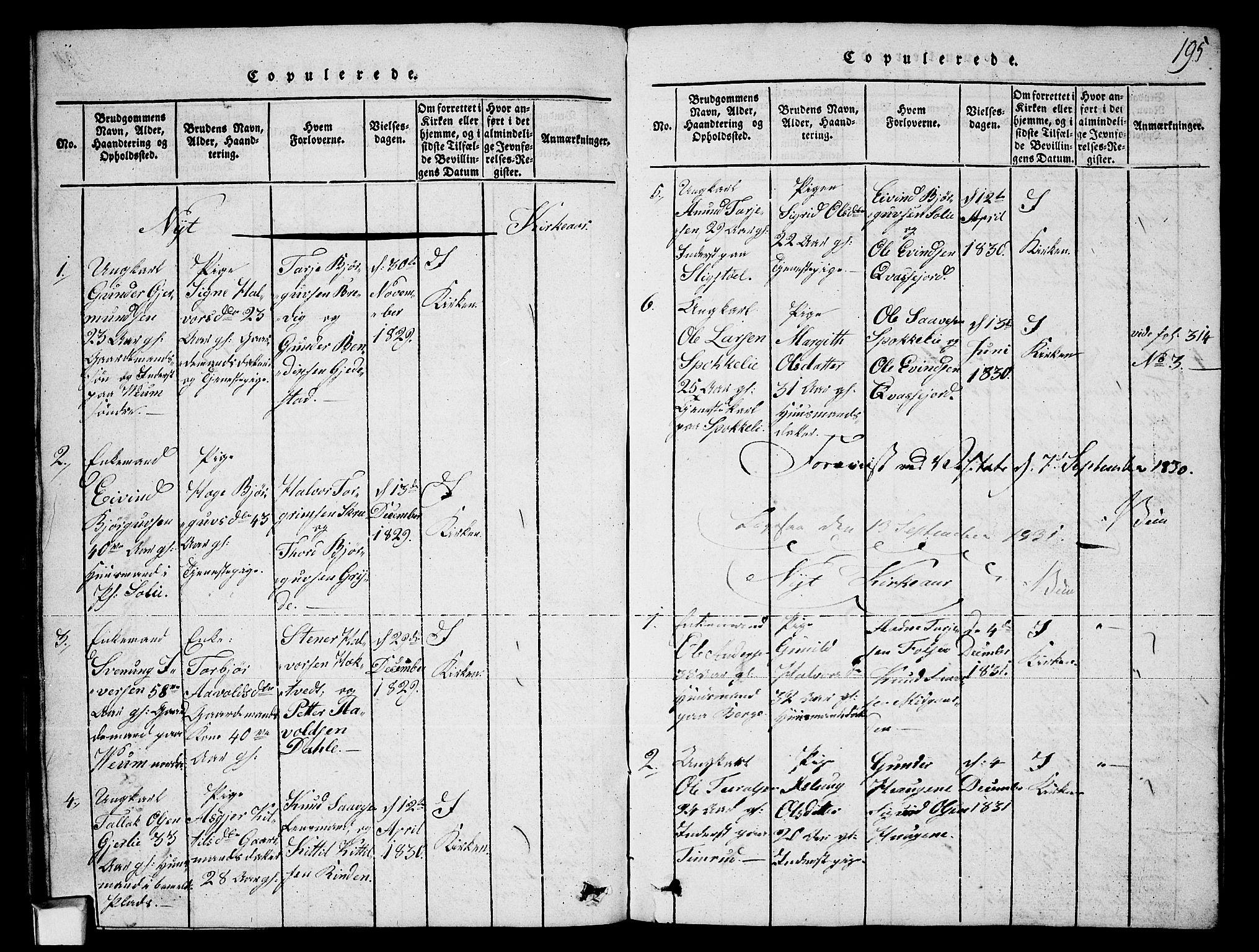 SAKO, Fyresdal kirkebøker, G/Ga/L0003: Klokkerbok nr. I 3, 1815-1863, s. 195