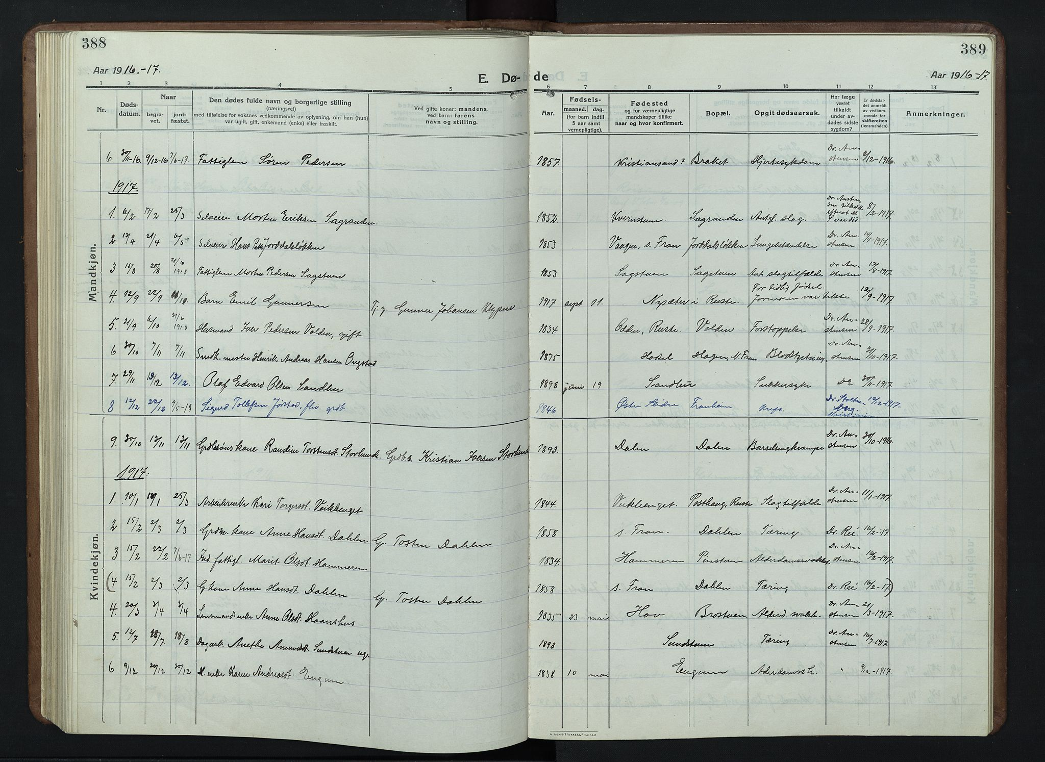 SAH, Nord-Fron prestekontor, Klokkerbok nr. 7, 1915-1946, s. 388-389