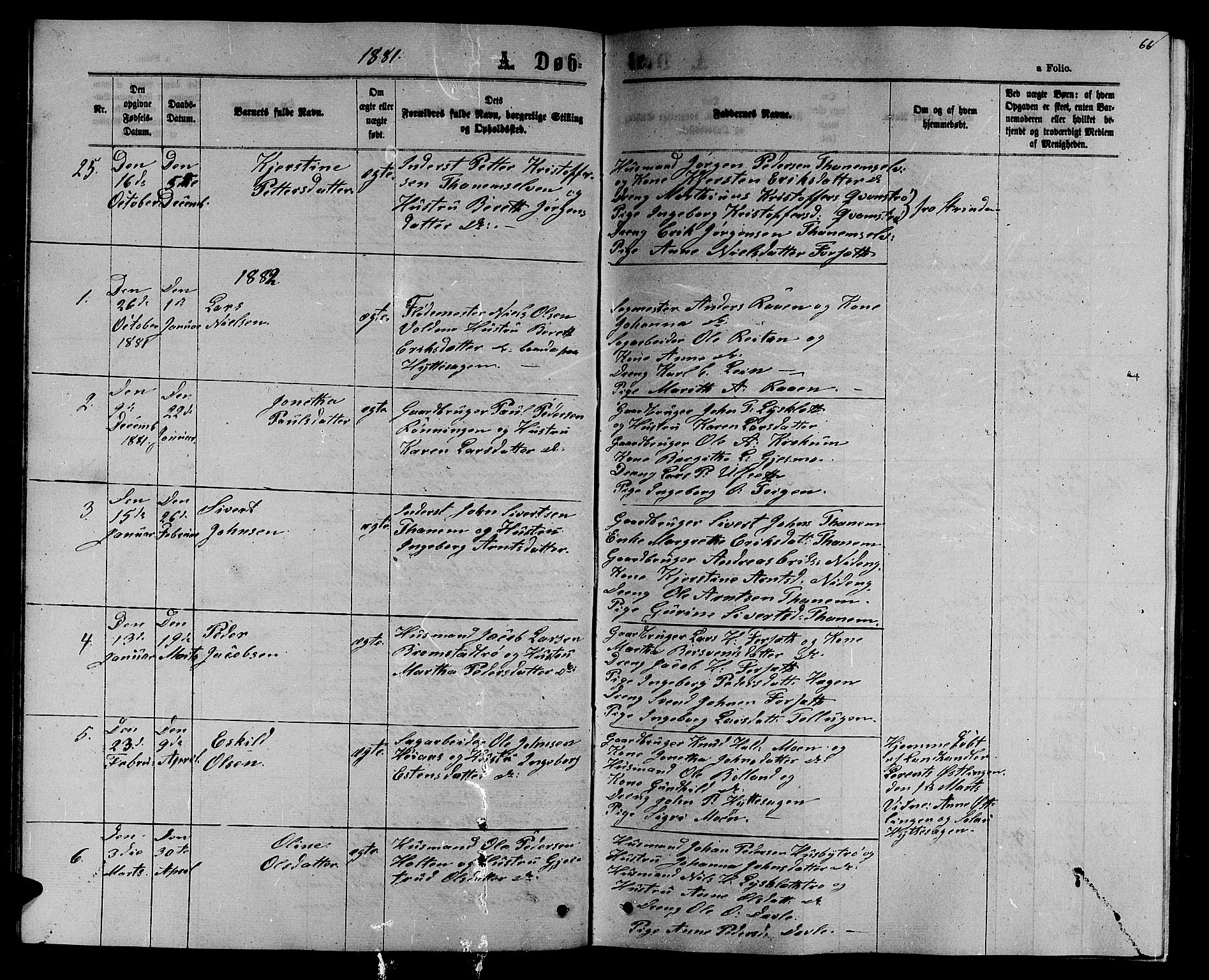 SAT, Ministerialprotokoller, klokkerbøker og fødselsregistre - Sør-Trøndelag, 618/L0451: Klokkerbok nr. 618C02, 1865-1883, s. 66