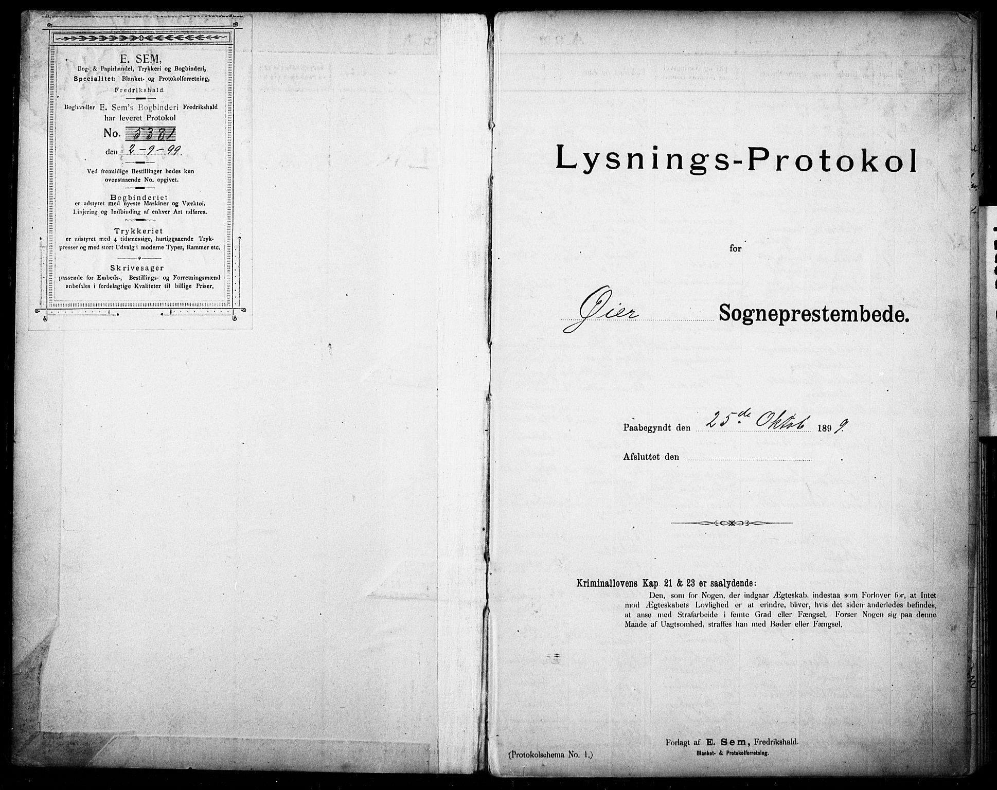SAH, Øyer prestekontor, Lysningsprotokoll nr. 1, 1899-1928