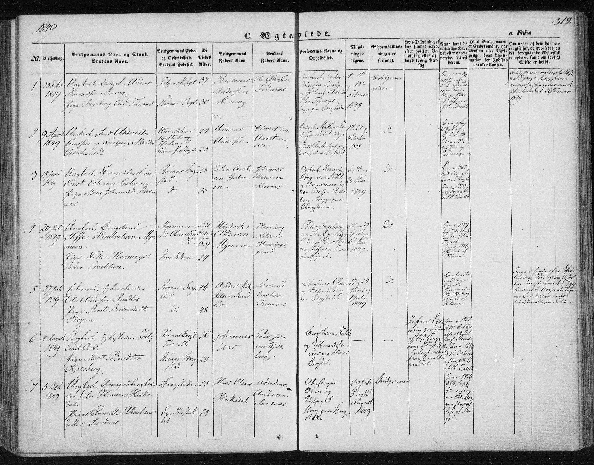 SAT, Ministerialprotokoller, klokkerbøker og fødselsregistre - Sør-Trøndelag, 681/L0931: Ministerialbok nr. 681A09, 1845-1859, s. 319
