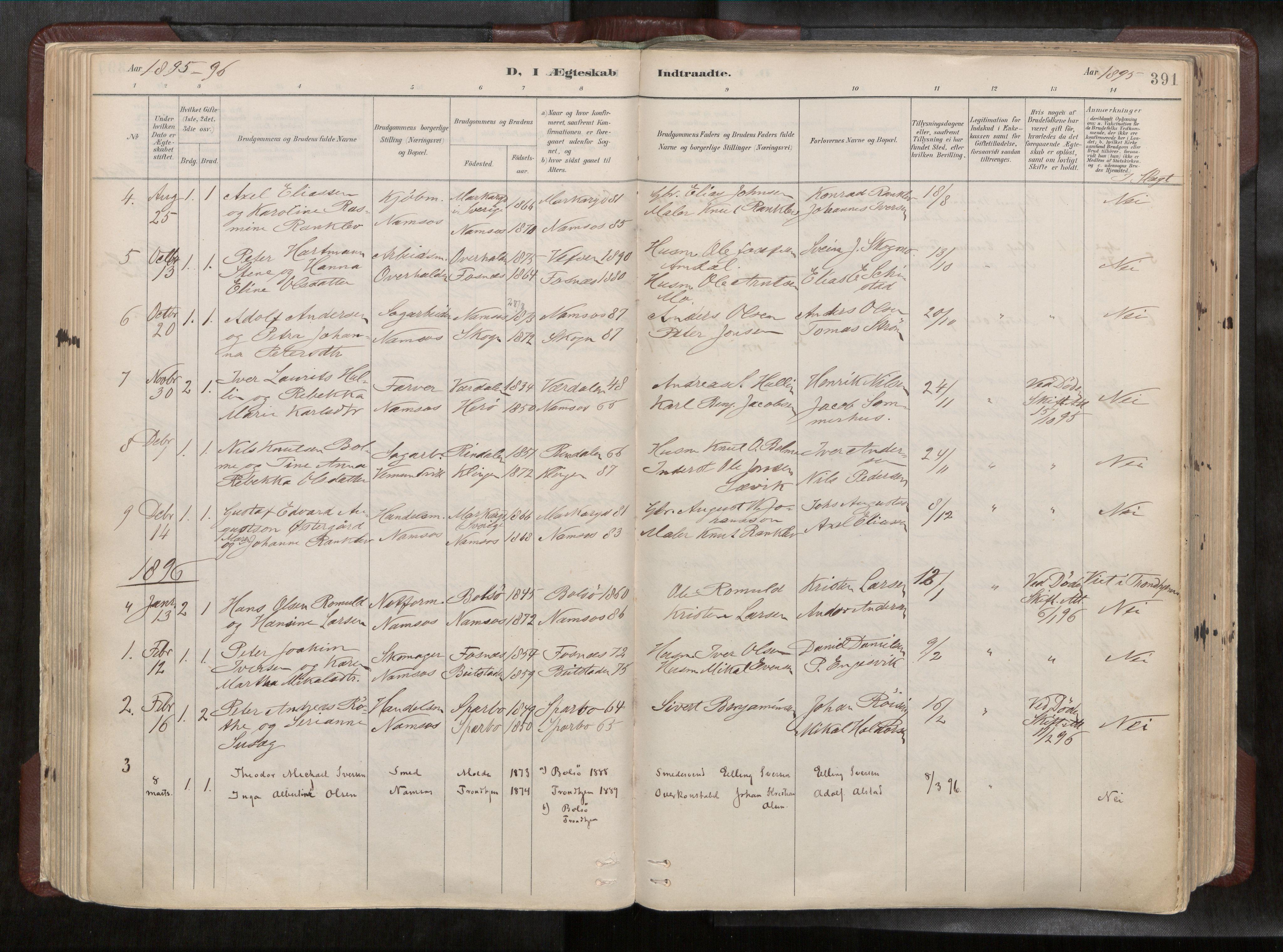 SAT, Ministerialprotokoller, klokkerbøker og fødselsregistre - Nord-Trøndelag, 768/L0579a: Ministerialbok nr. 768A14, 1887-1931, s. 391