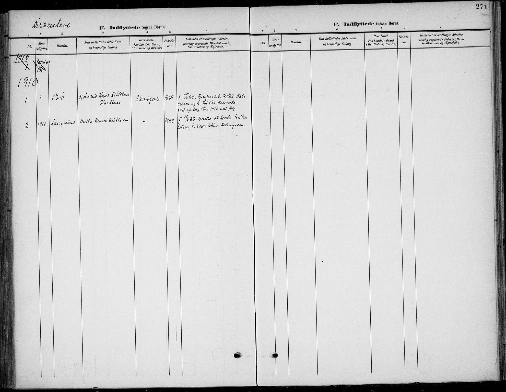 SAKO, Solum kirkebøker, F/Fb/L0003: Ministerialbok nr. II 3, 1901-1912, s. 271