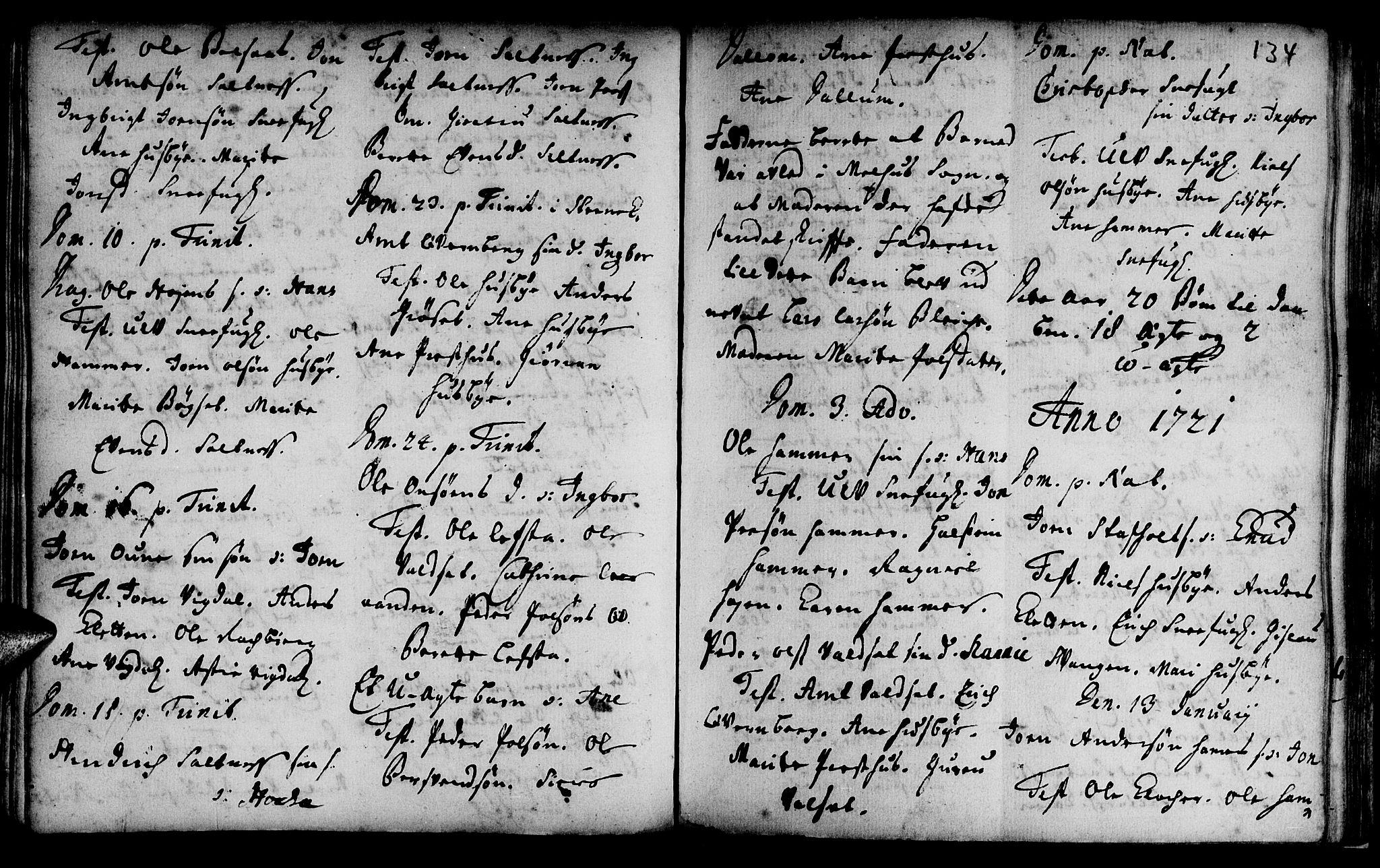SAT, Ministerialprotokoller, klokkerbøker og fødselsregistre - Sør-Trøndelag, 666/L0783: Ministerialbok nr. 666A01, 1702-1753, s. 134