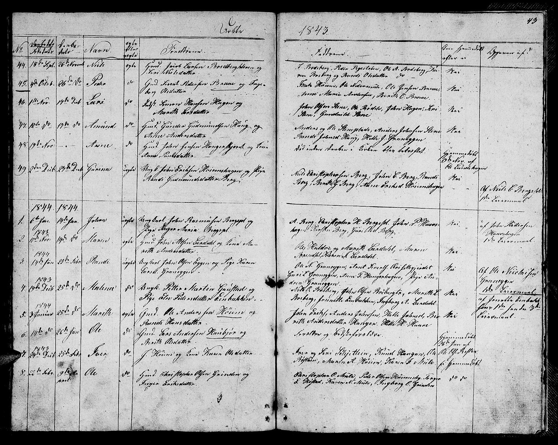 SAT, Ministerialprotokoller, klokkerbøker og fødselsregistre - Sør-Trøndelag, 612/L0386: Klokkerbok nr. 612C02, 1834-1845, s. 43