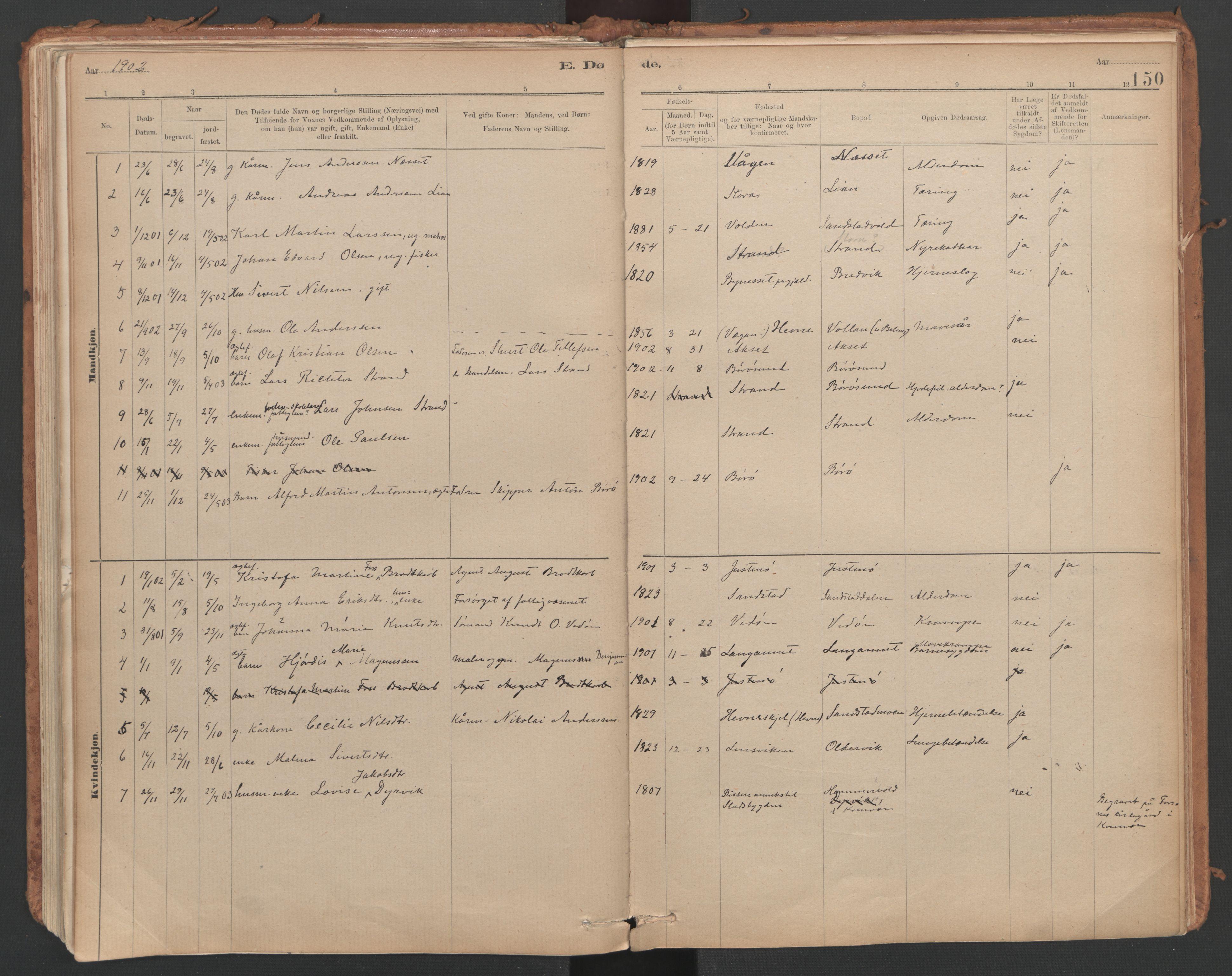 SAT, Ministerialprotokoller, klokkerbøker og fødselsregistre - Sør-Trøndelag, 639/L0572: Ministerialbok nr. 639A01, 1890-1920, s. 150