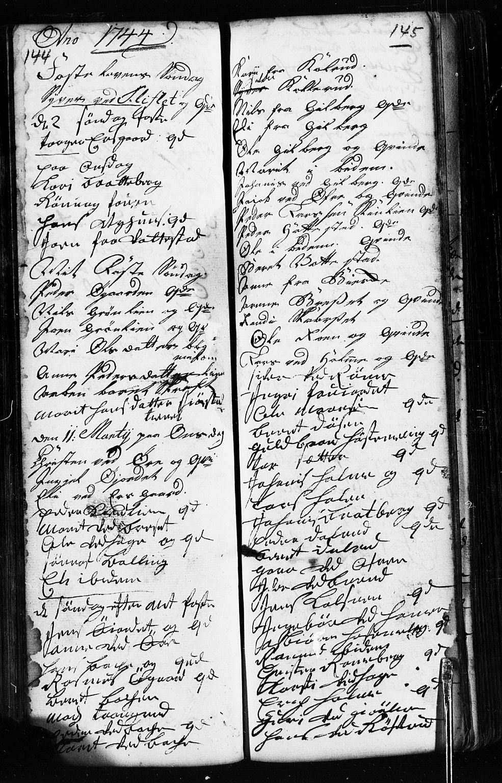 SAH, Fåberg prestekontor, Klokkerbok nr. 2, 1741-1756, s. 144-145