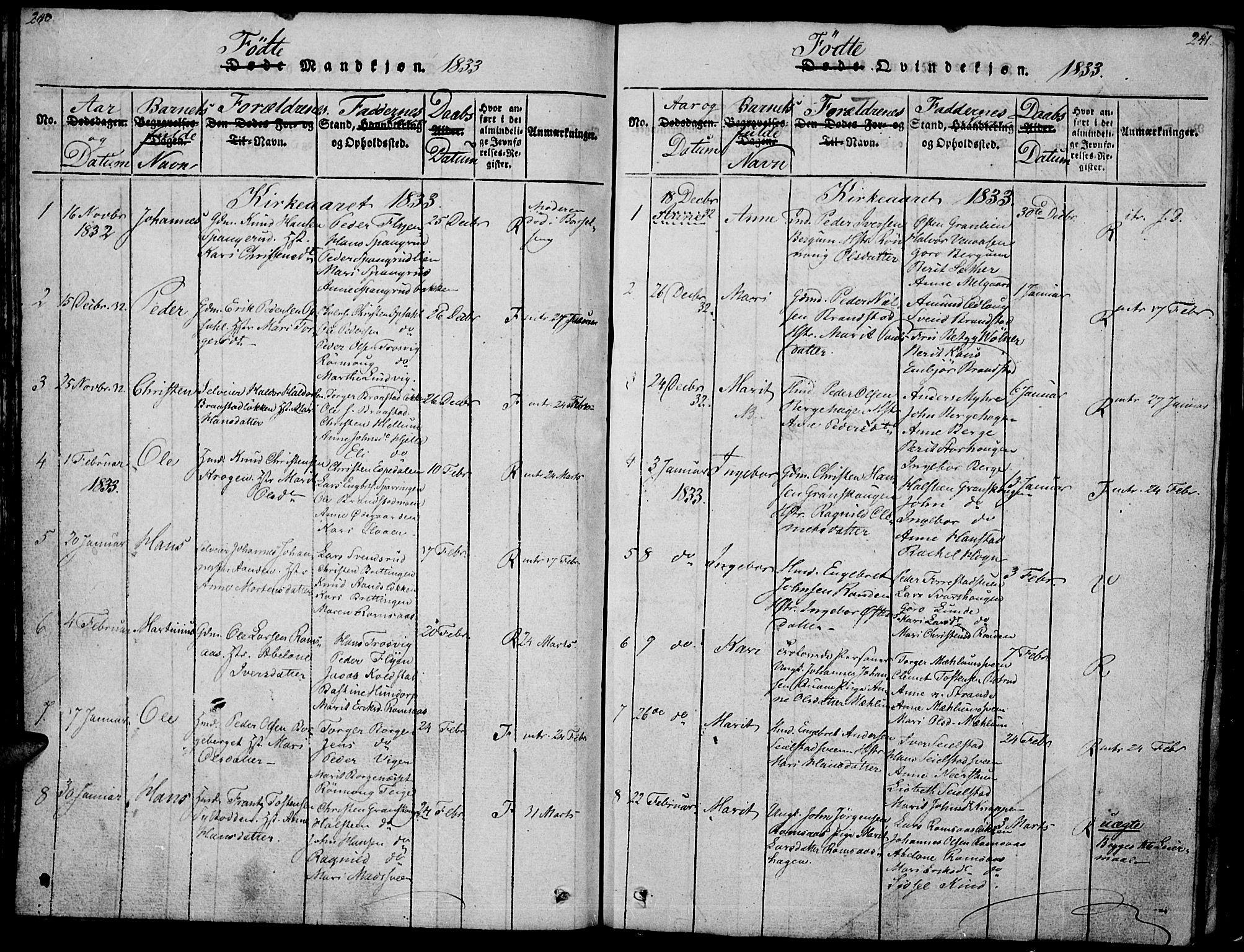 SAH, Ringebu prestekontor, Ministerialbok nr. 4, 1821-1839, s. 240-241