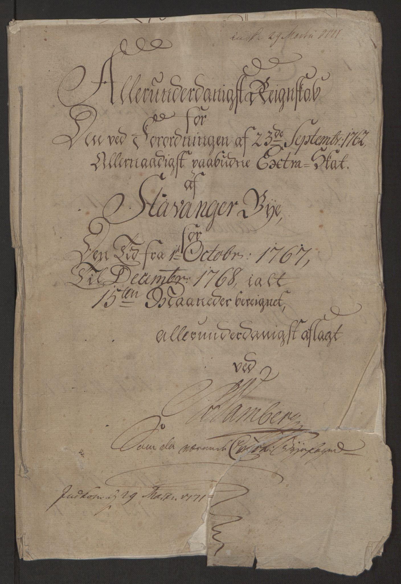RA, Rentekammeret inntil 1814, Reviderte regnskaper, Byregnskaper, R/Ro/L0305: [O6] Kontribusjonsregnskap, 1762-1768, s. 336