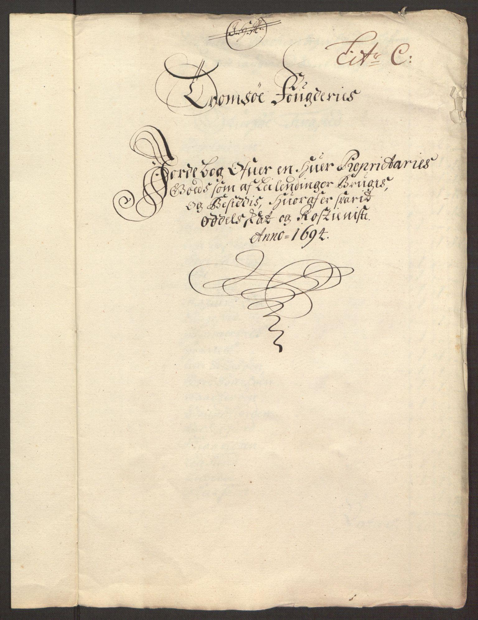 RA, Rentekammeret inntil 1814, Reviderte regnskaper, Fogderegnskap, R68/L4753: Fogderegnskap Senja og Troms, 1694-1696, s. 198