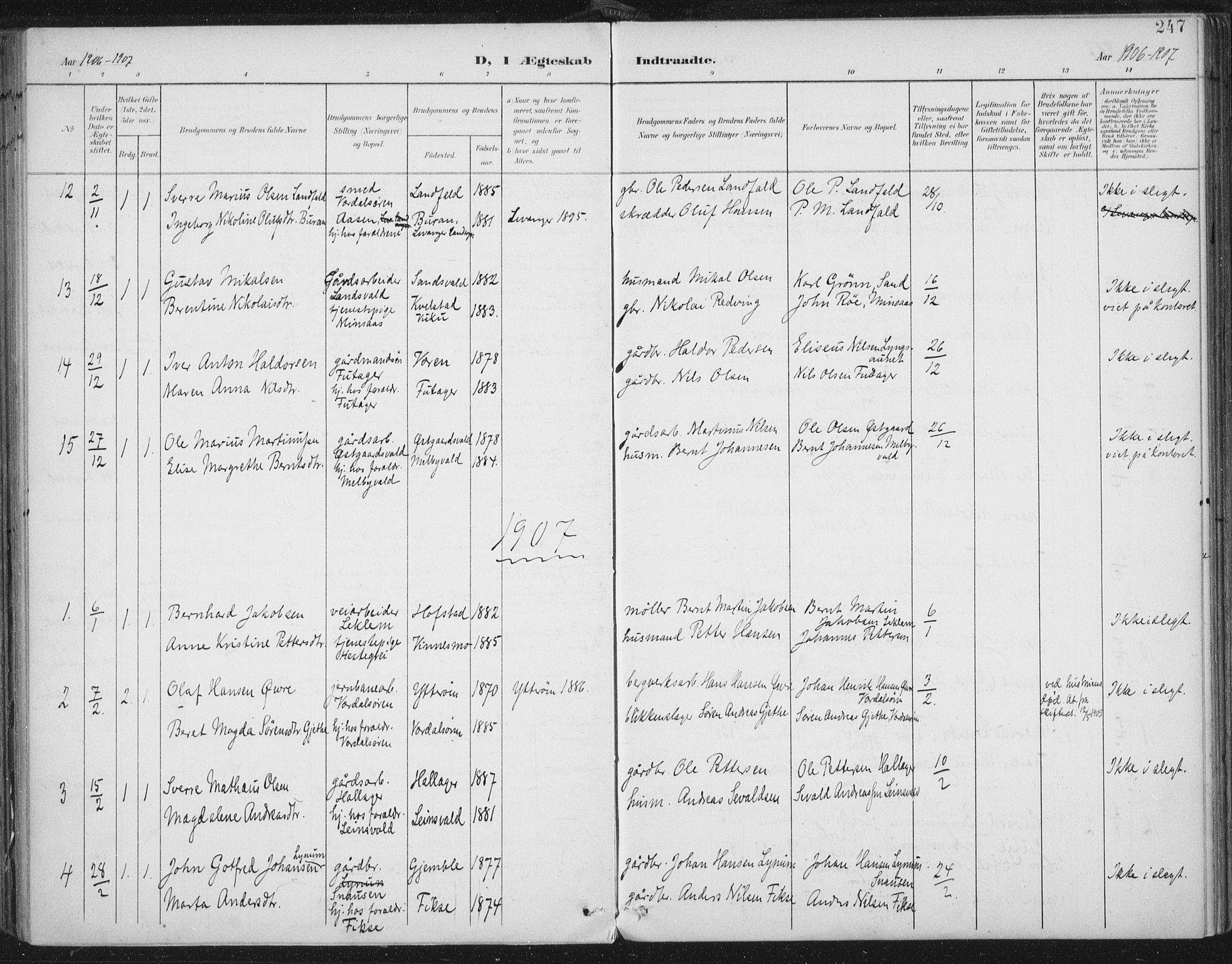 SAT, Ministerialprotokoller, klokkerbøker og fødselsregistre - Nord-Trøndelag, 723/L0246: Ministerialbok nr. 723A15, 1900-1917, s. 247