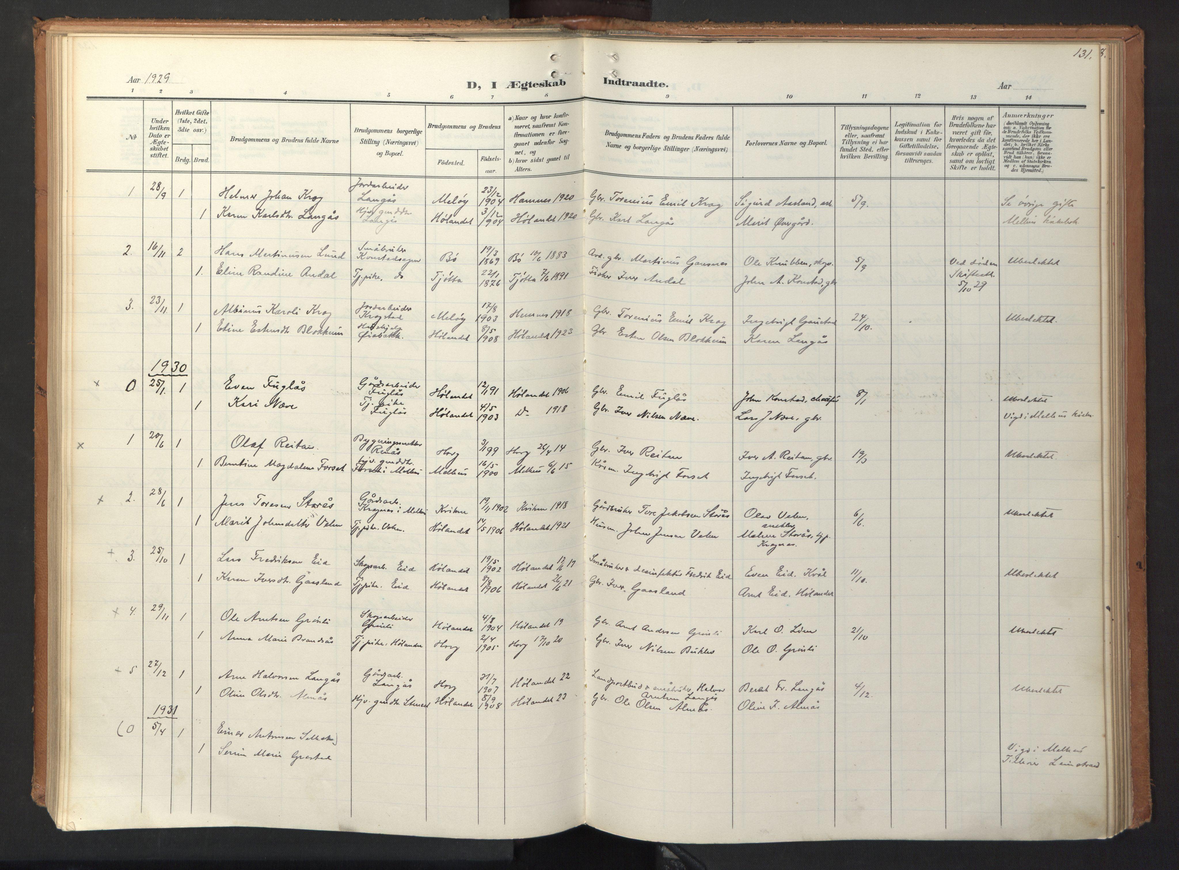 SAT, Ministerialprotokoller, klokkerbøker og fødselsregistre - Sør-Trøndelag, 694/L1128: Ministerialbok nr. 694A02, 1906-1931, s. 131